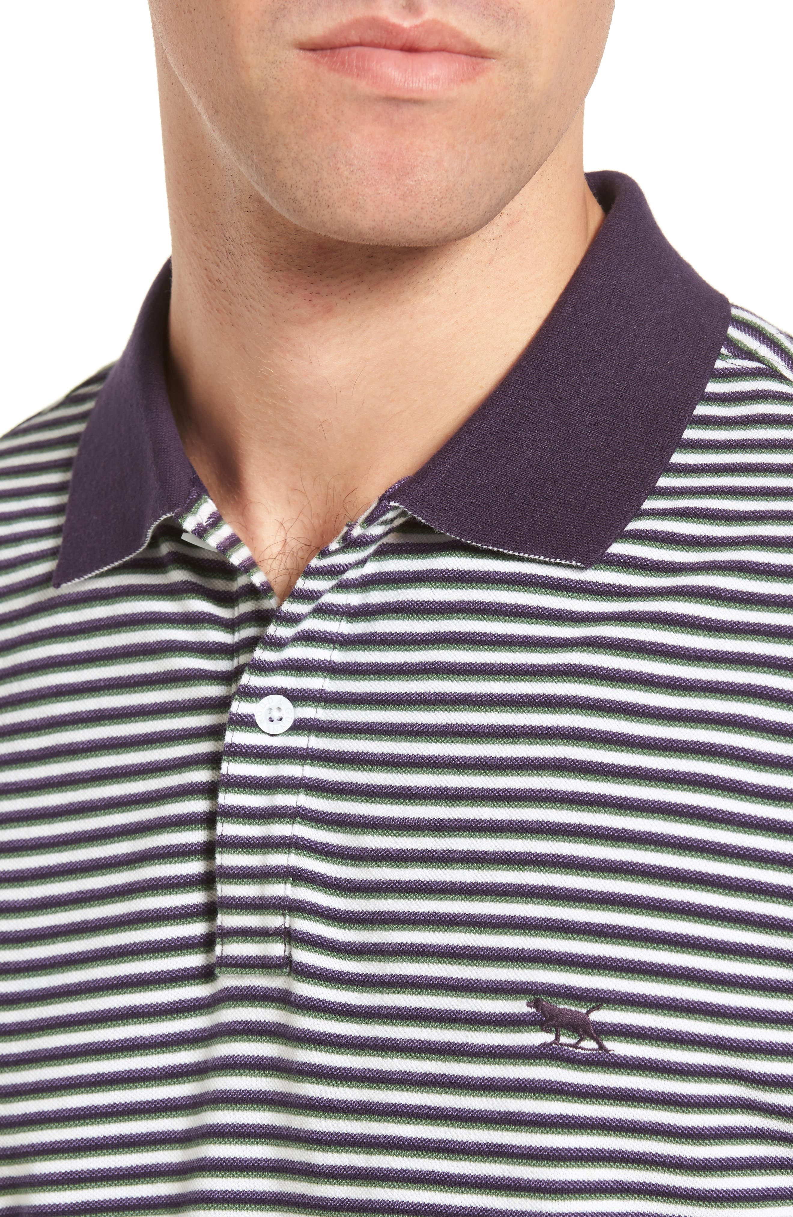 Swyers Point Sports Fit Stripe Polo,                             Alternate thumbnail 4, color,