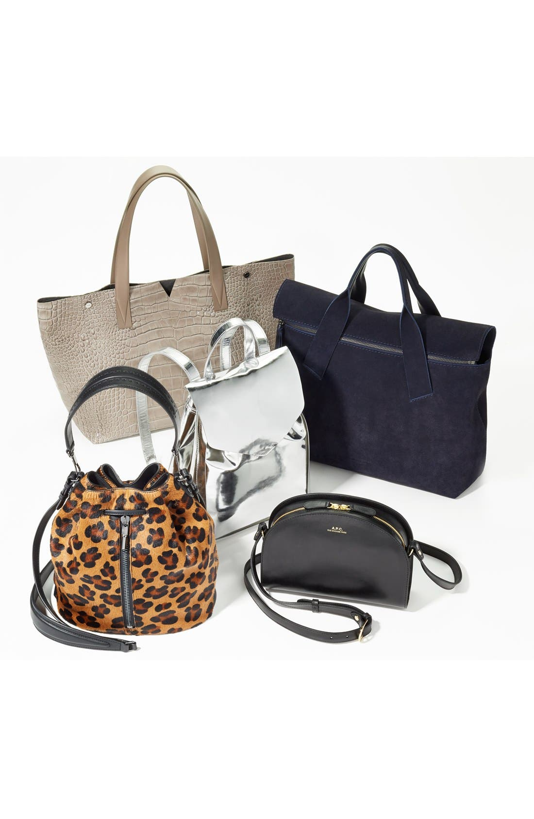 'Sac Demi Lune' Leather Crossbody Bag,                             Alternate thumbnail 8, color,                             NOISETTE