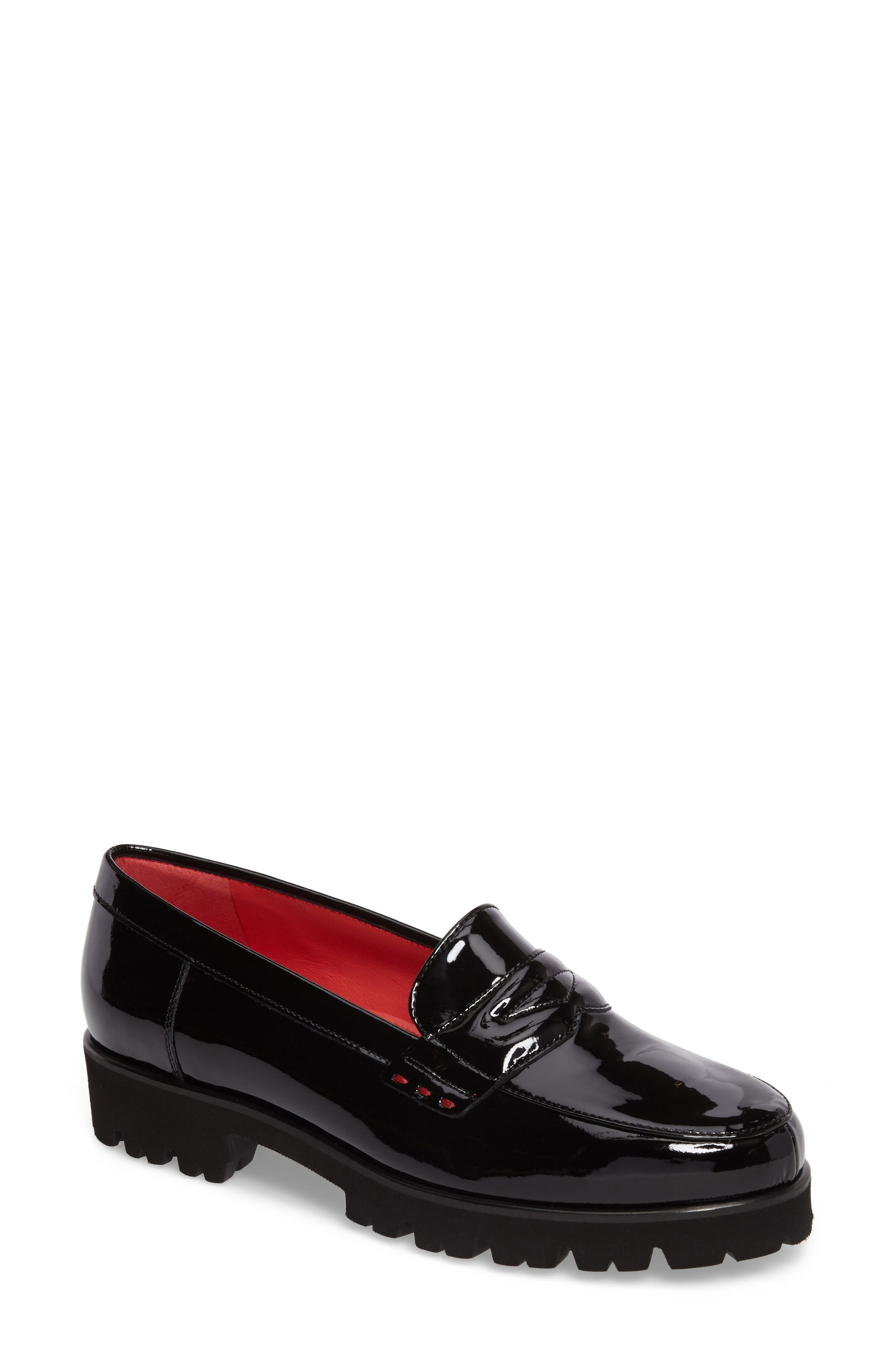 Classic Penny Loafer,                         Main,                         color, BLACK PATENT LEATHER