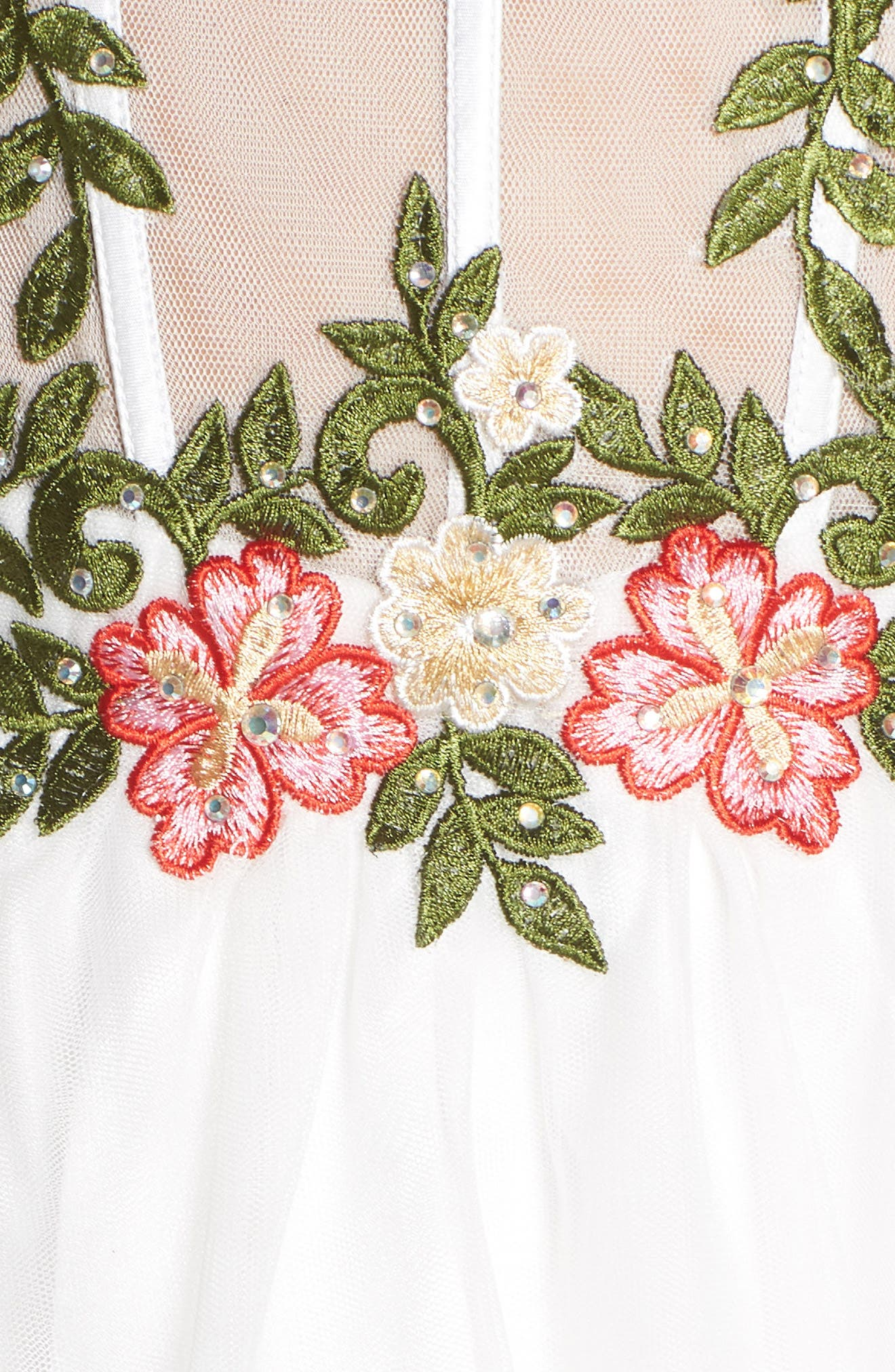 Embroidered Lace Fit & Flare Dress,                             Alternate thumbnail 5, color,                             IVORY/ MULTI