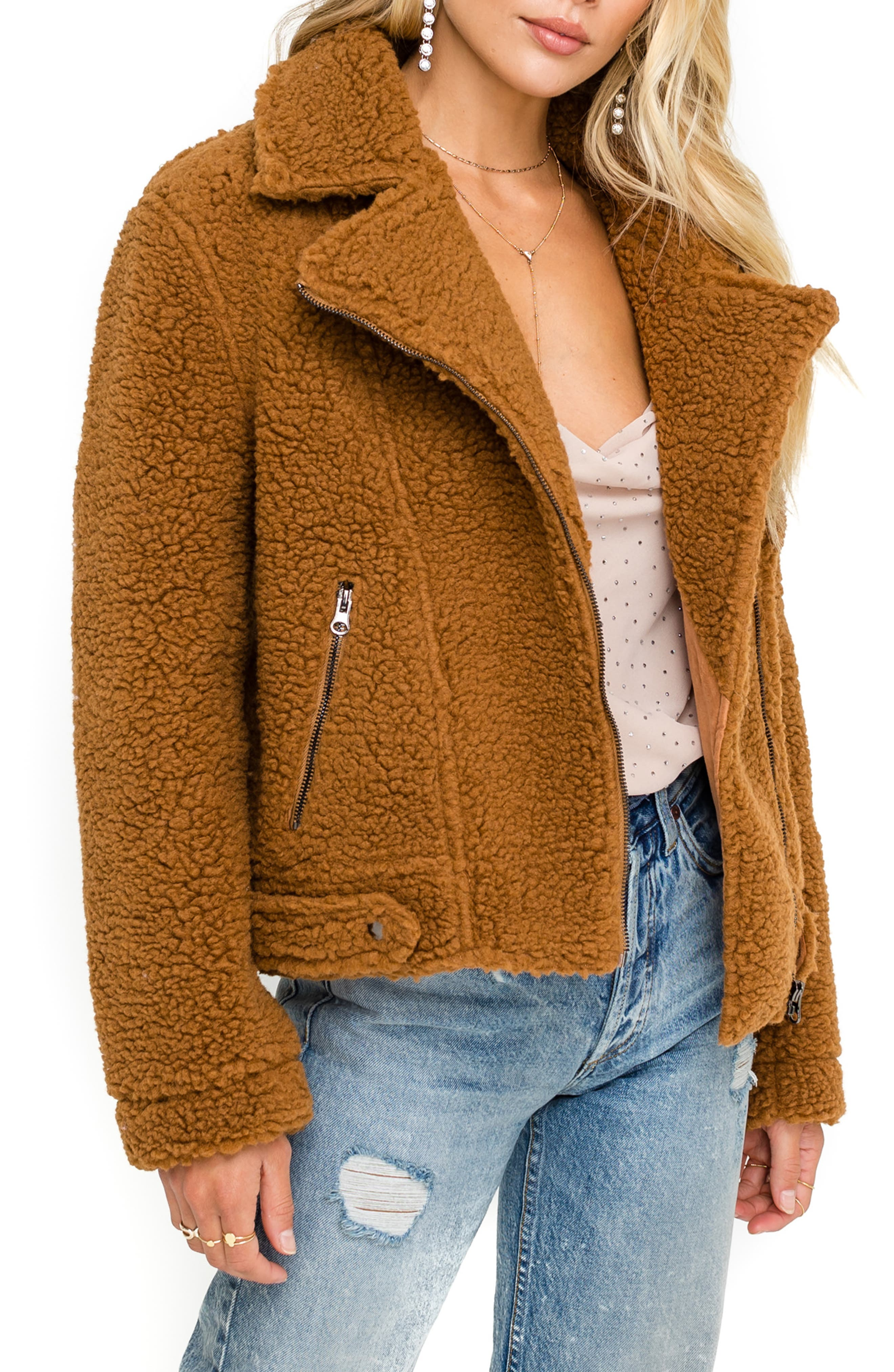 Astr The Label Brooklyn High Pile Fleece Jacket, Brown