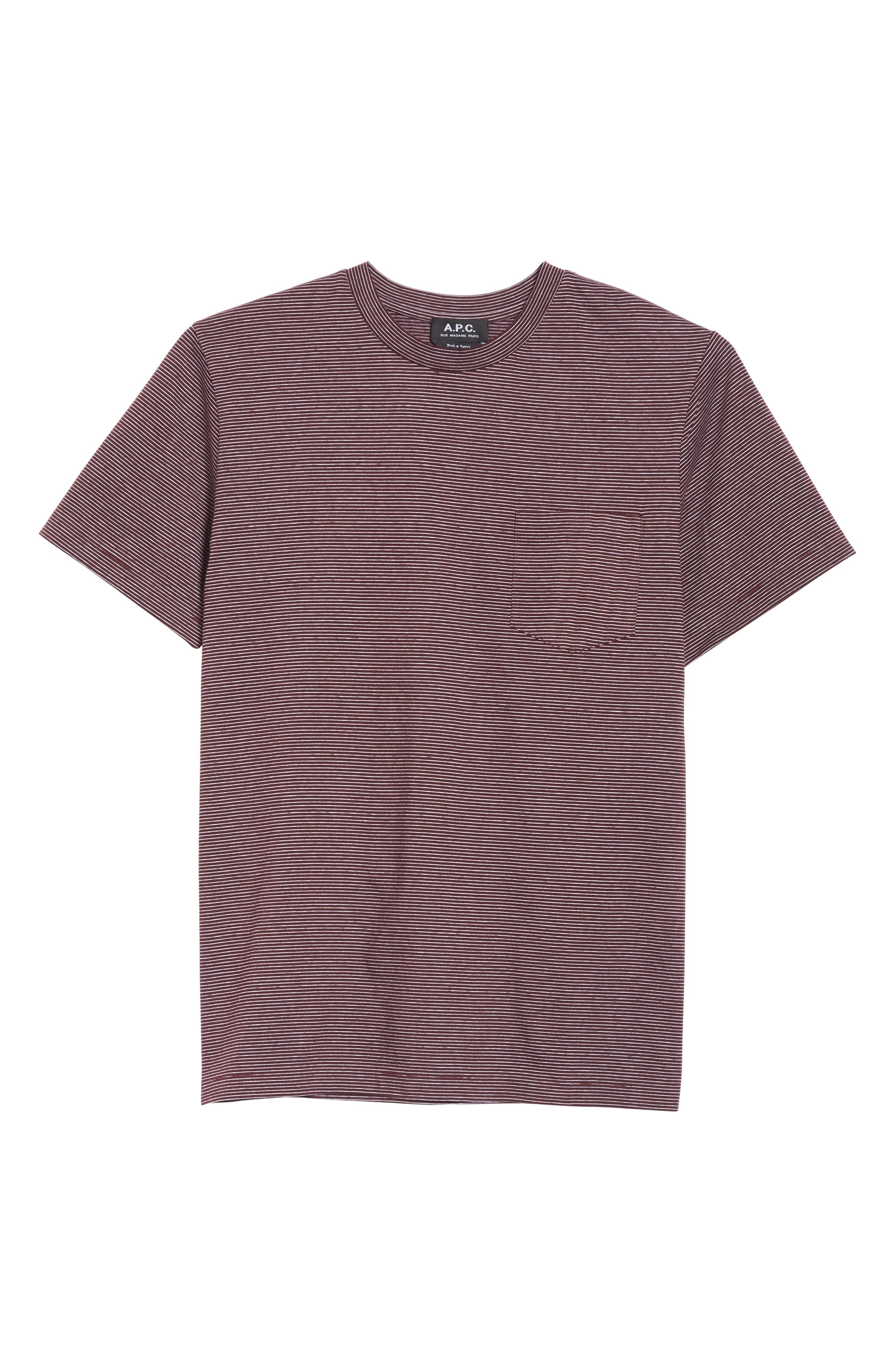 Stripe Pocket T-Shirt,                             Alternate thumbnail 6, color,                             BURGUNDY