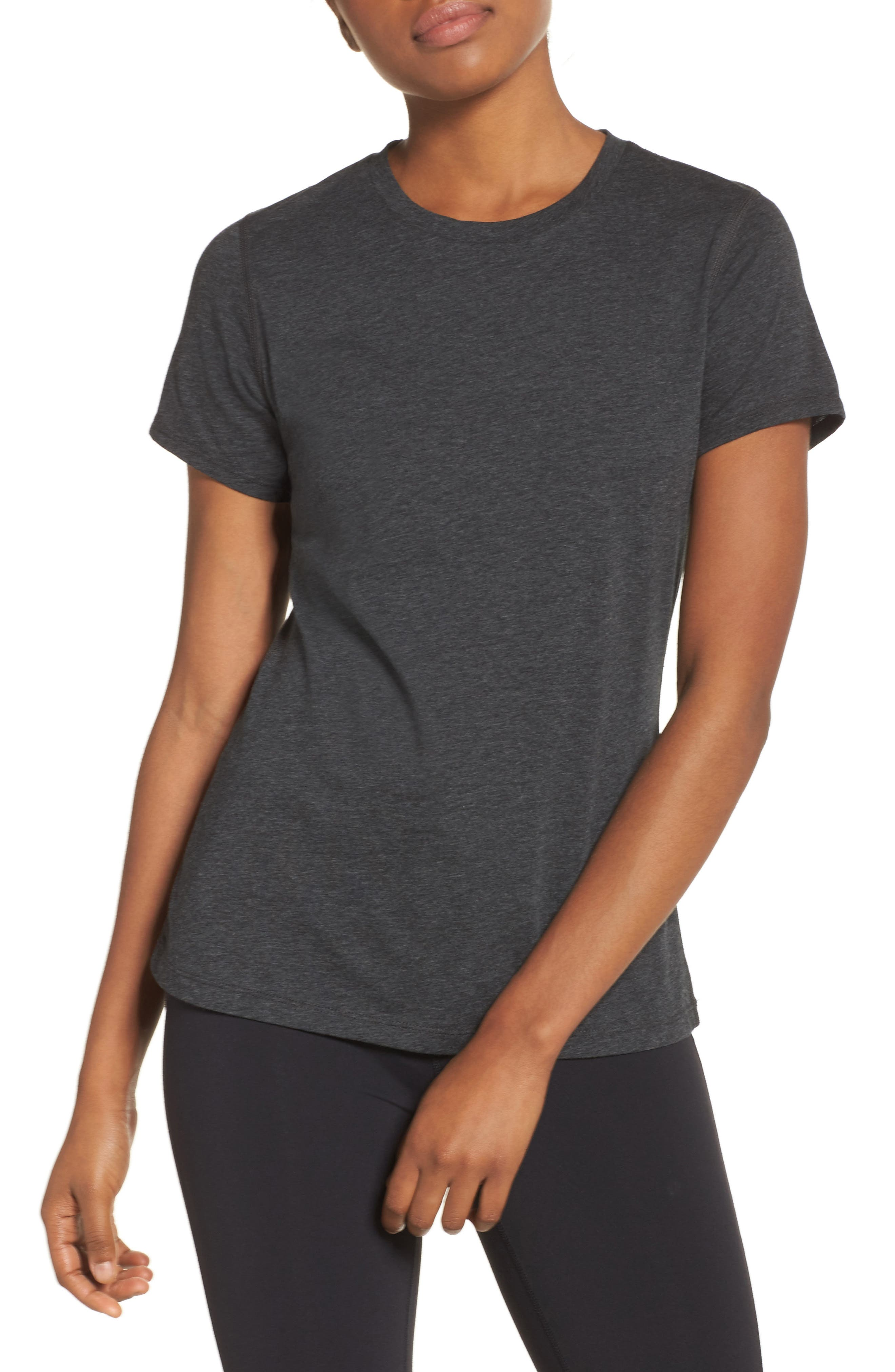 NEW BALANCE,                             Heather Tech Tee,                             Main thumbnail 1, color,                             001
