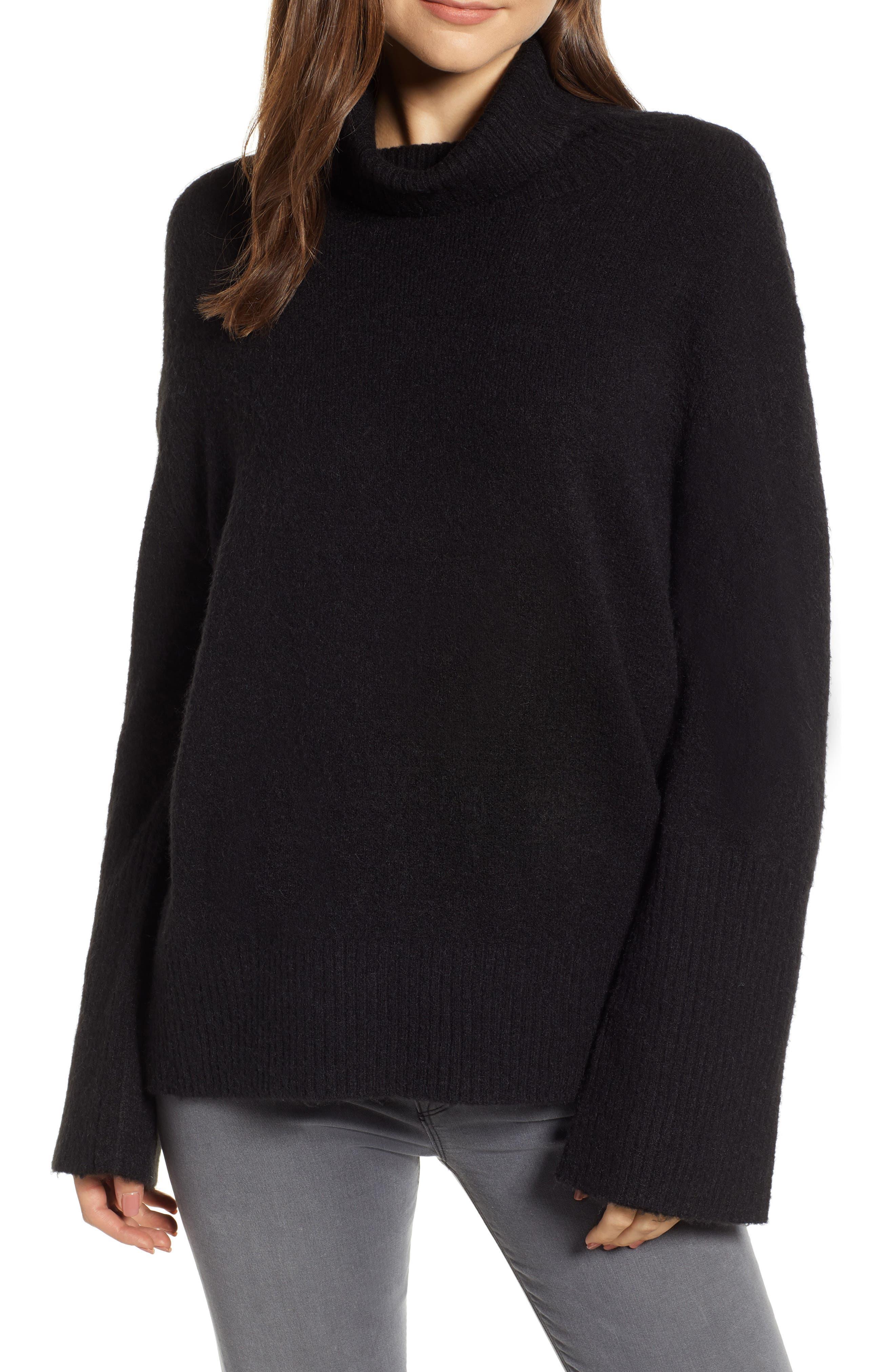 HINGE,                             Bell Sleeve Sweater,                             Main thumbnail 1, color,                             BLACK