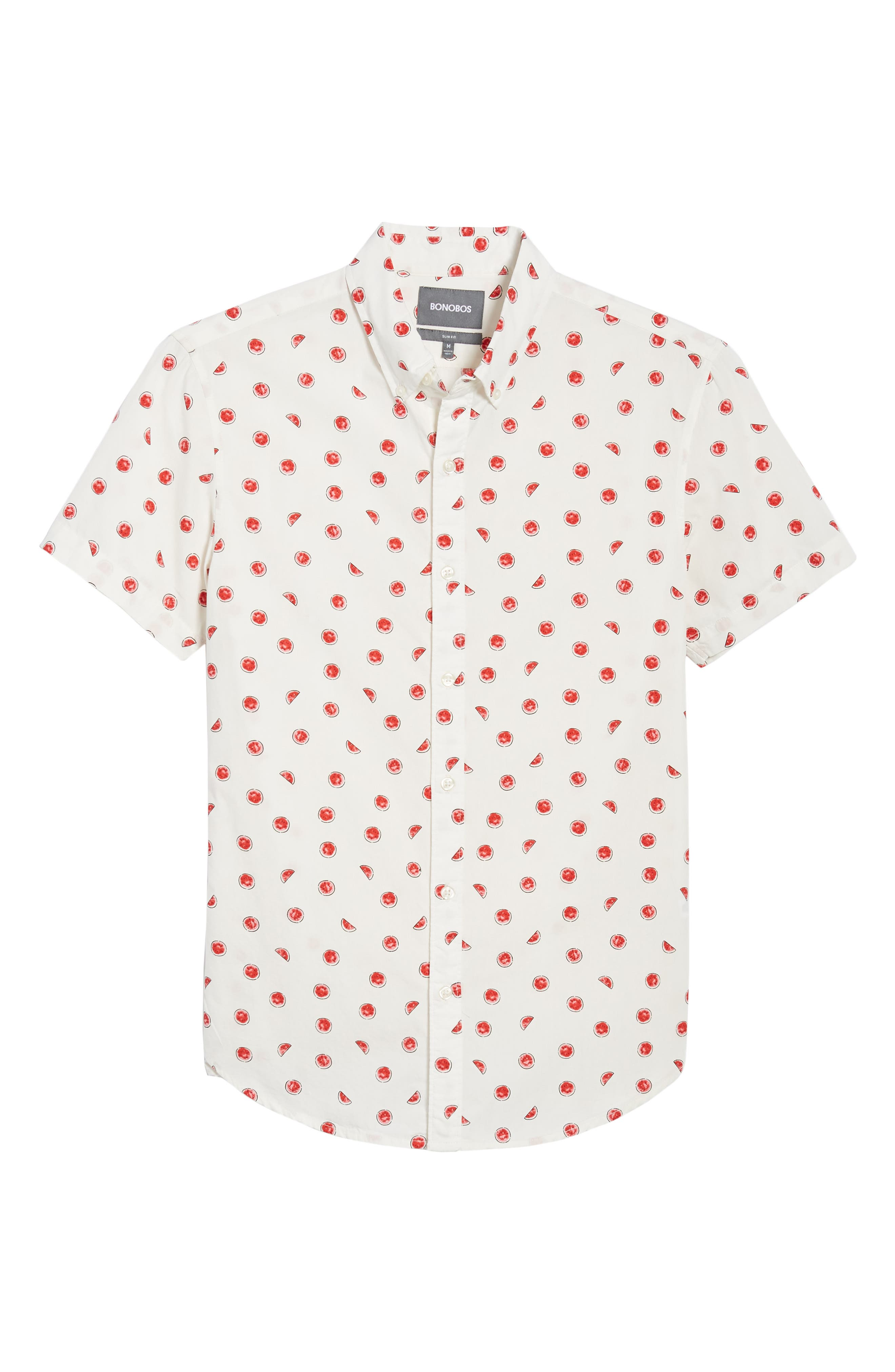 Slim Fit Watermelon Print Sport Shirt,                             Alternate thumbnail 6, color,                             100