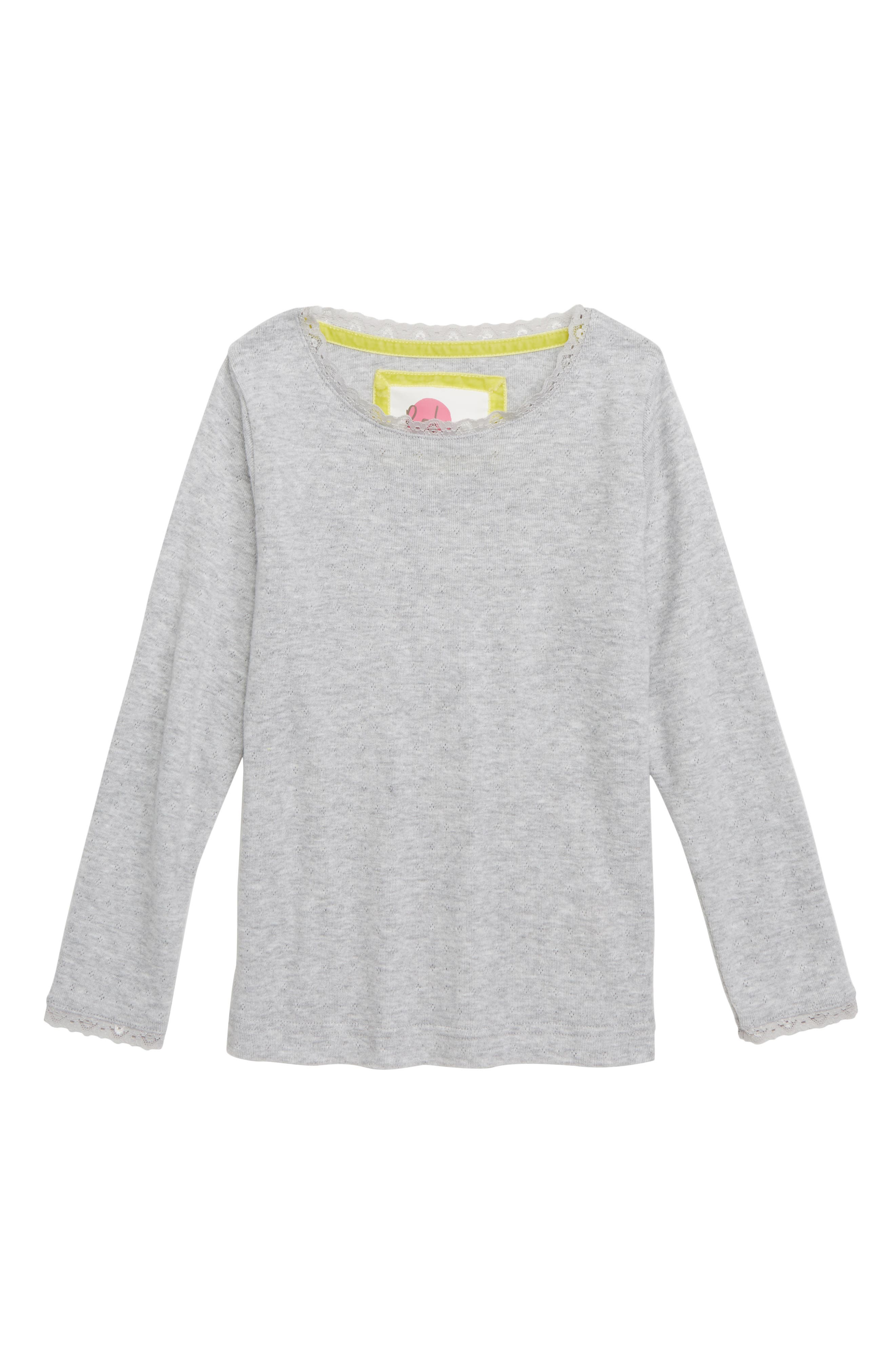 Pointelle Tee,                         Main,                         color, GREY MARL