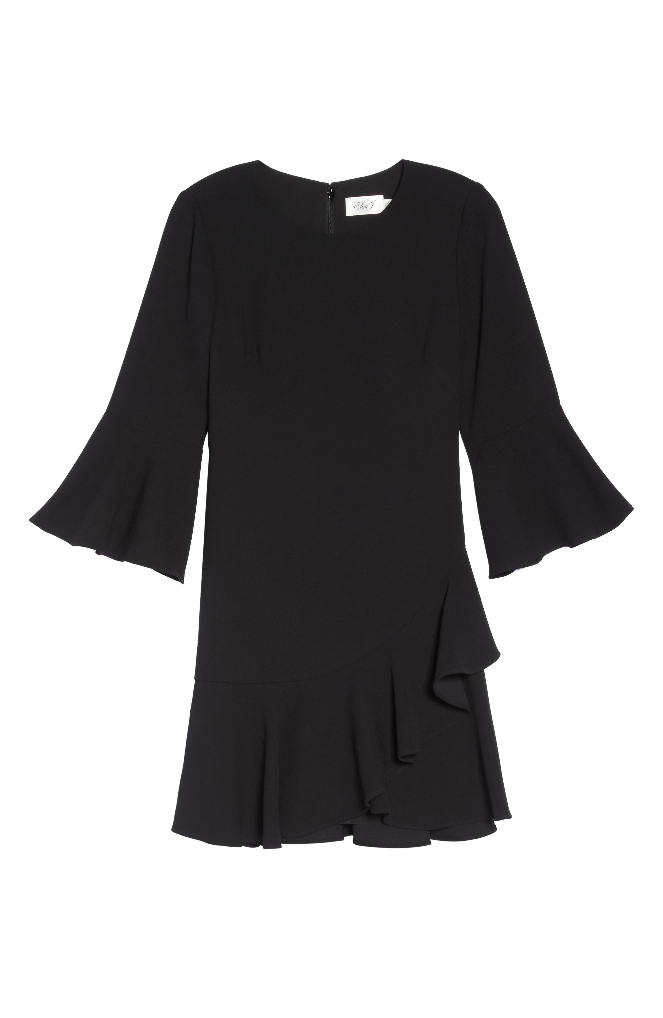 Bell Sleeve Fit & Flare Dress,                             Alternate thumbnail 6, color,                             001