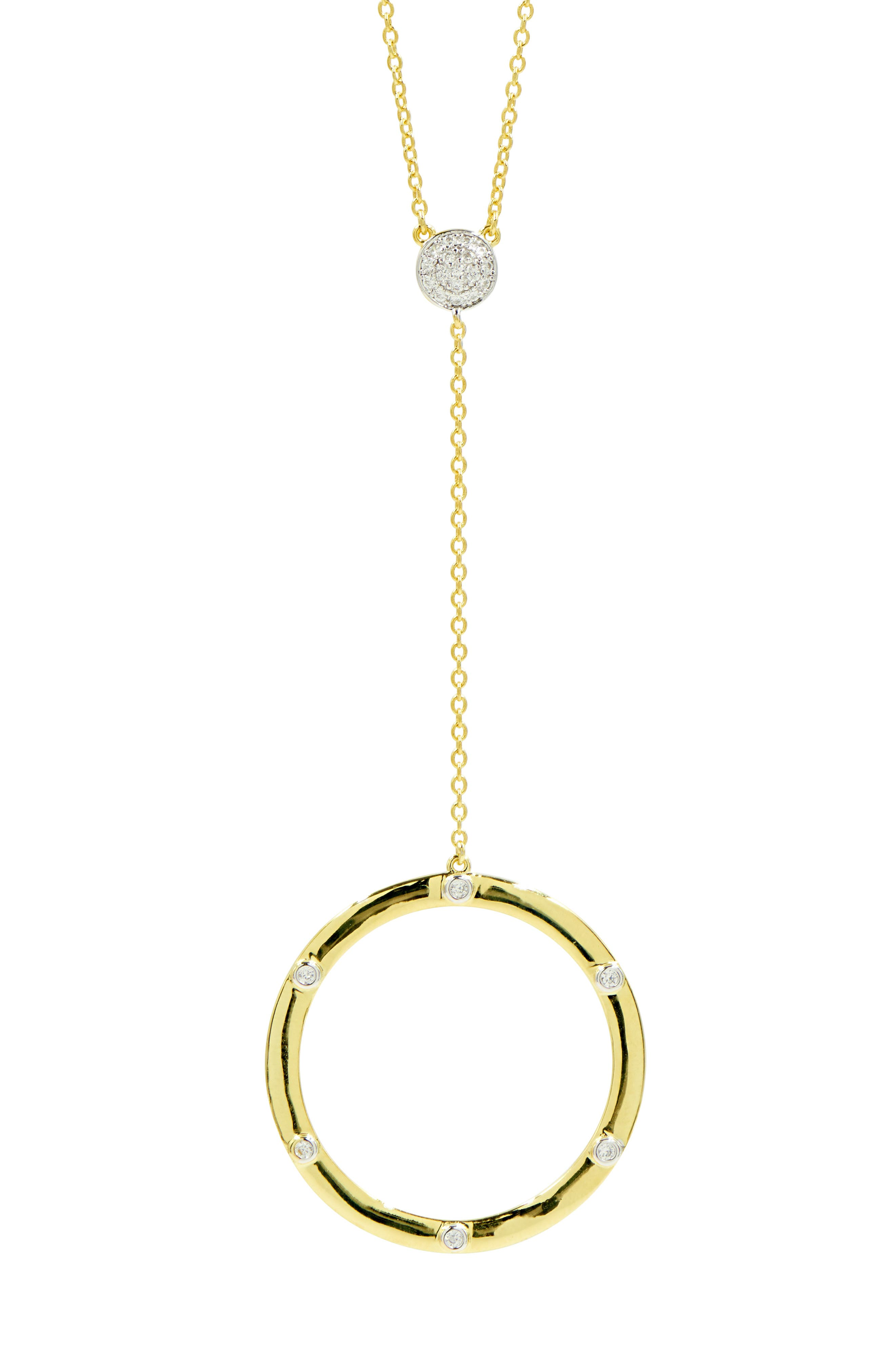 FREIDA ROTHMAN Radiance Circle Pendant Y-Necklace in Gold