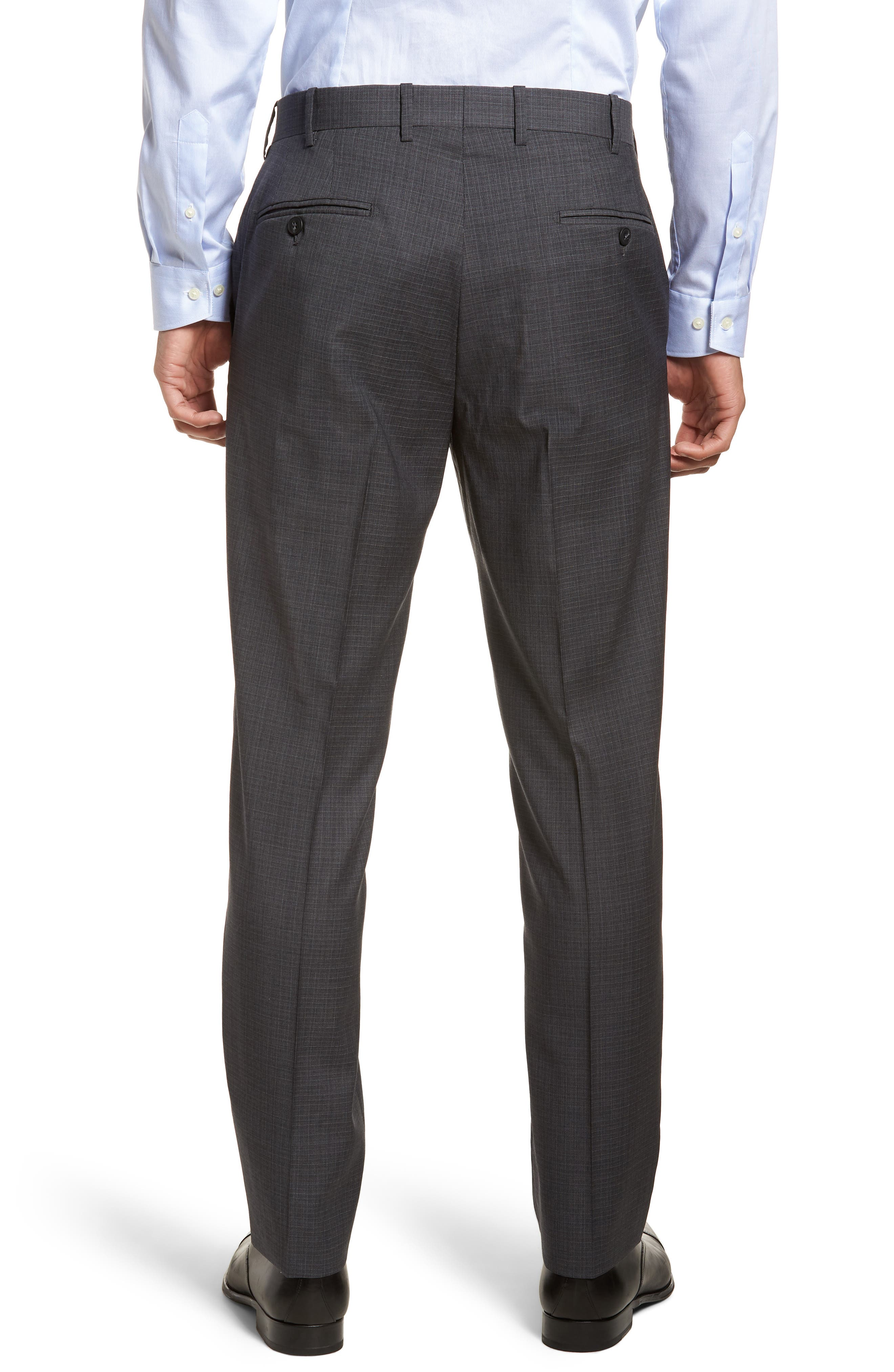 Flat Front Check Wool Trousers,                             Alternate thumbnail 2, color,                             020