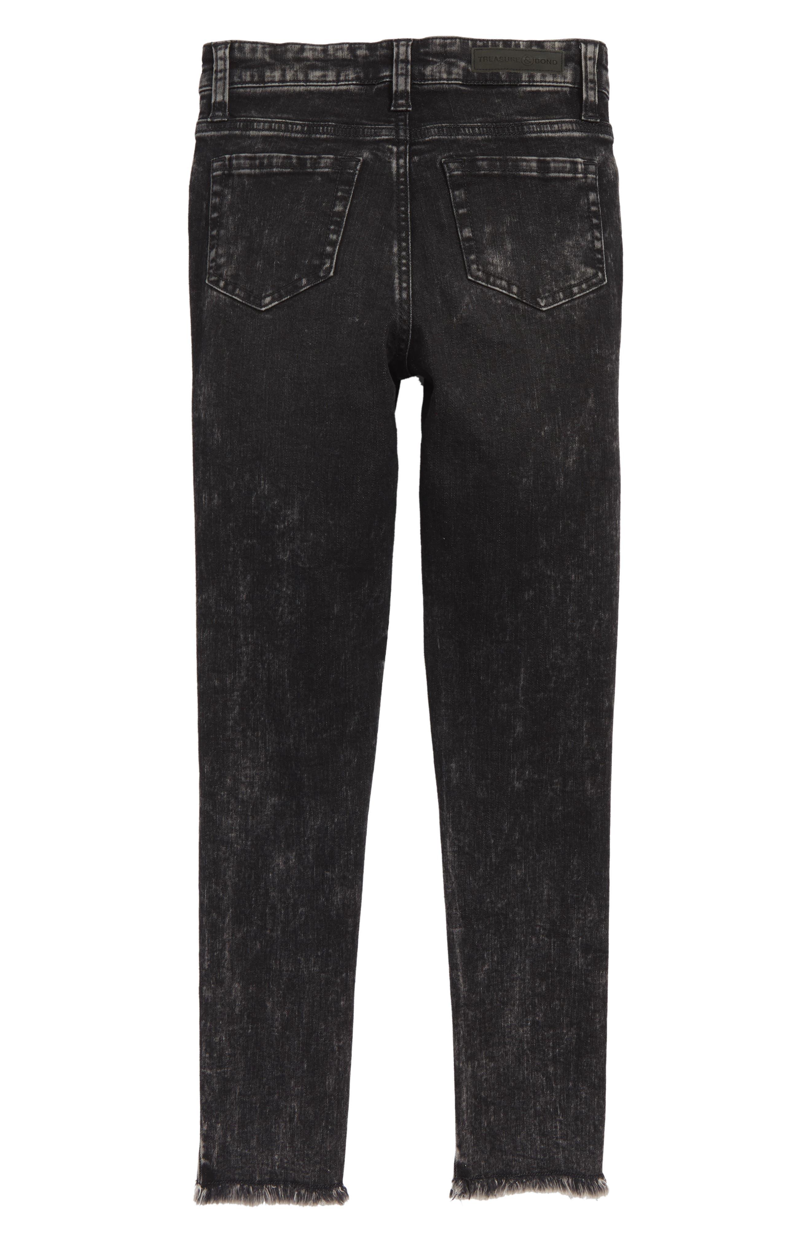 Frayed Step Hem Jeans,                             Alternate thumbnail 2, color,                             001