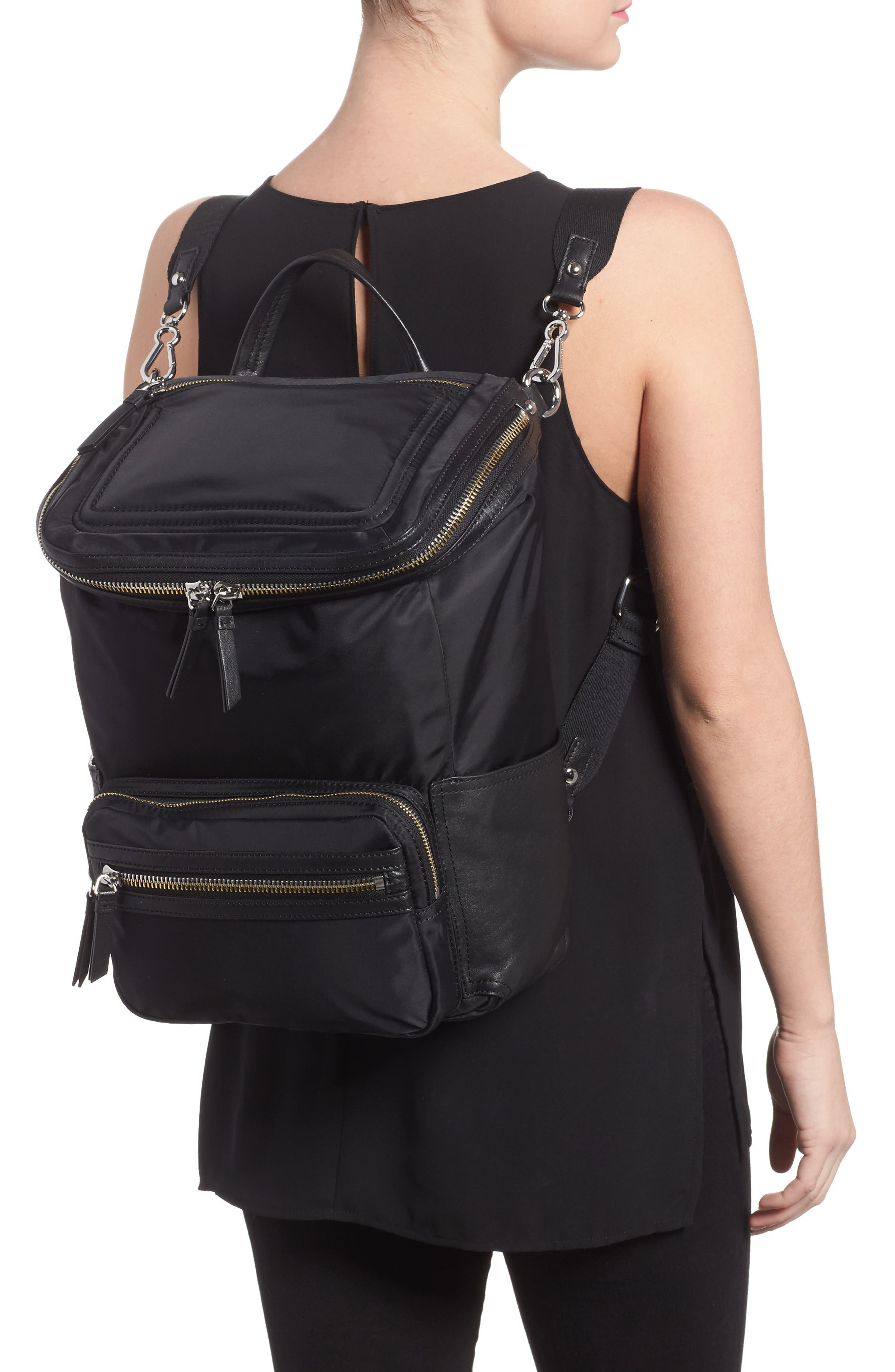 Patch NYL Leather & Nylon Backpack,                             Alternate thumbnail 2, color,                             002