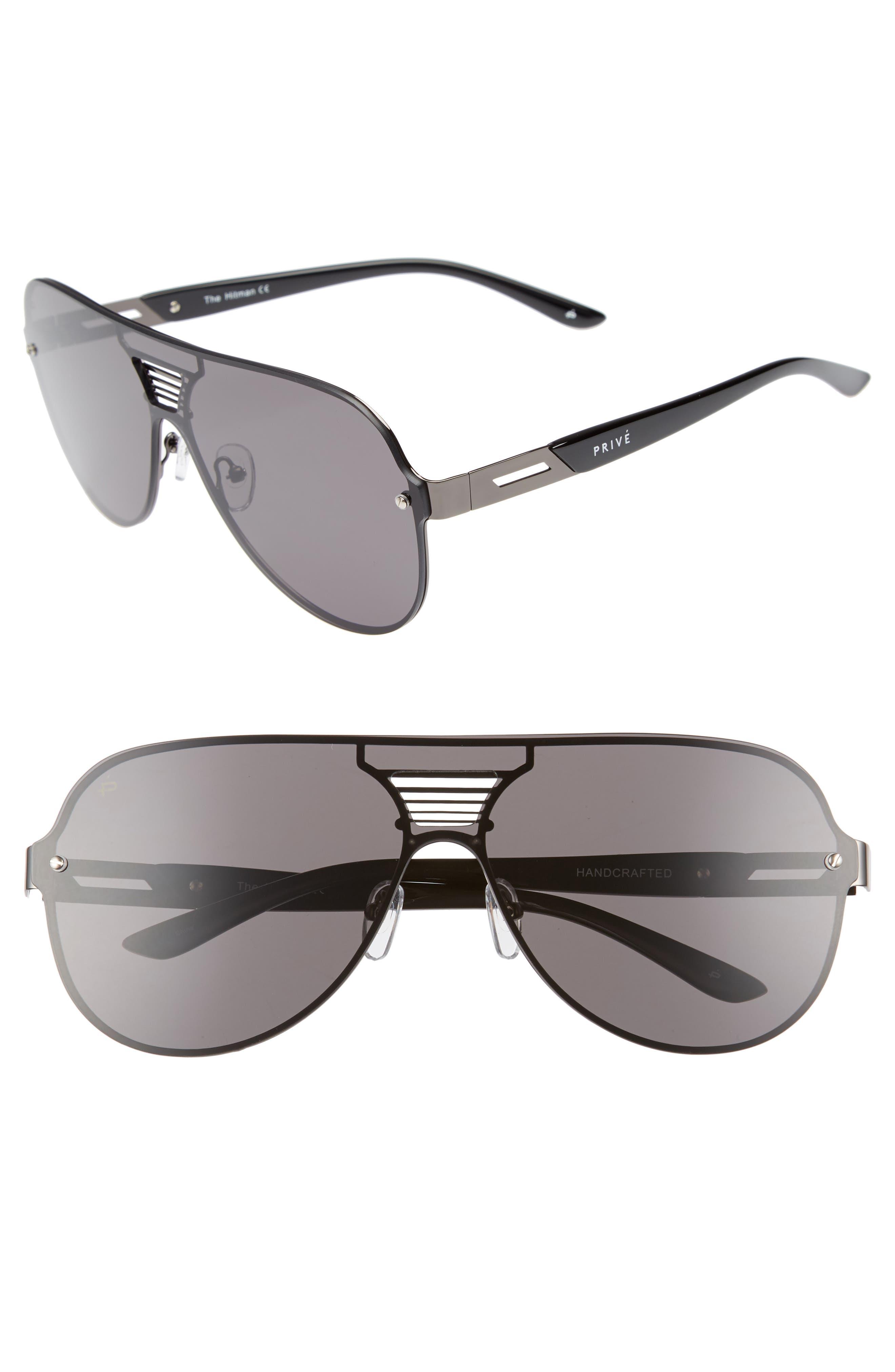 The Hitman 63mm Polarized Oversize Aviator Sunglasses,                             Main thumbnail 1, color,                             BLACK