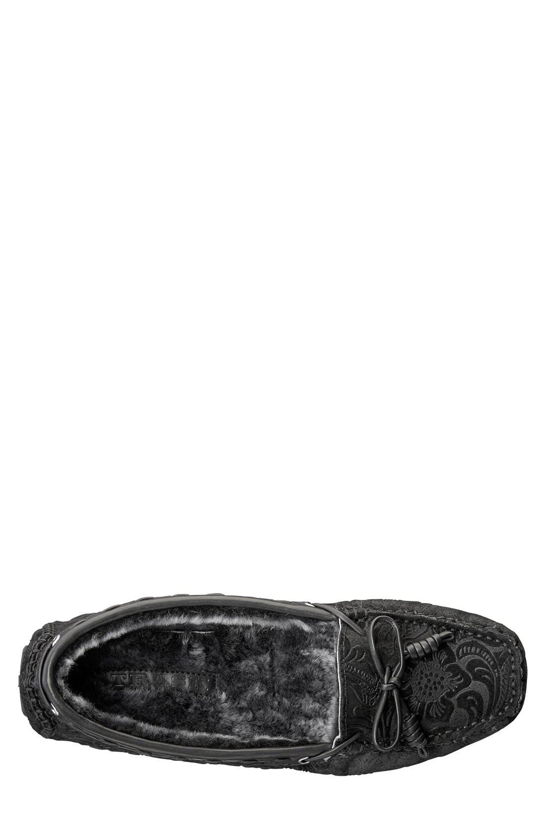 'Sophia' Genuine Shearling Lined Driving Loafer,                             Alternate thumbnail 4, color,                             008