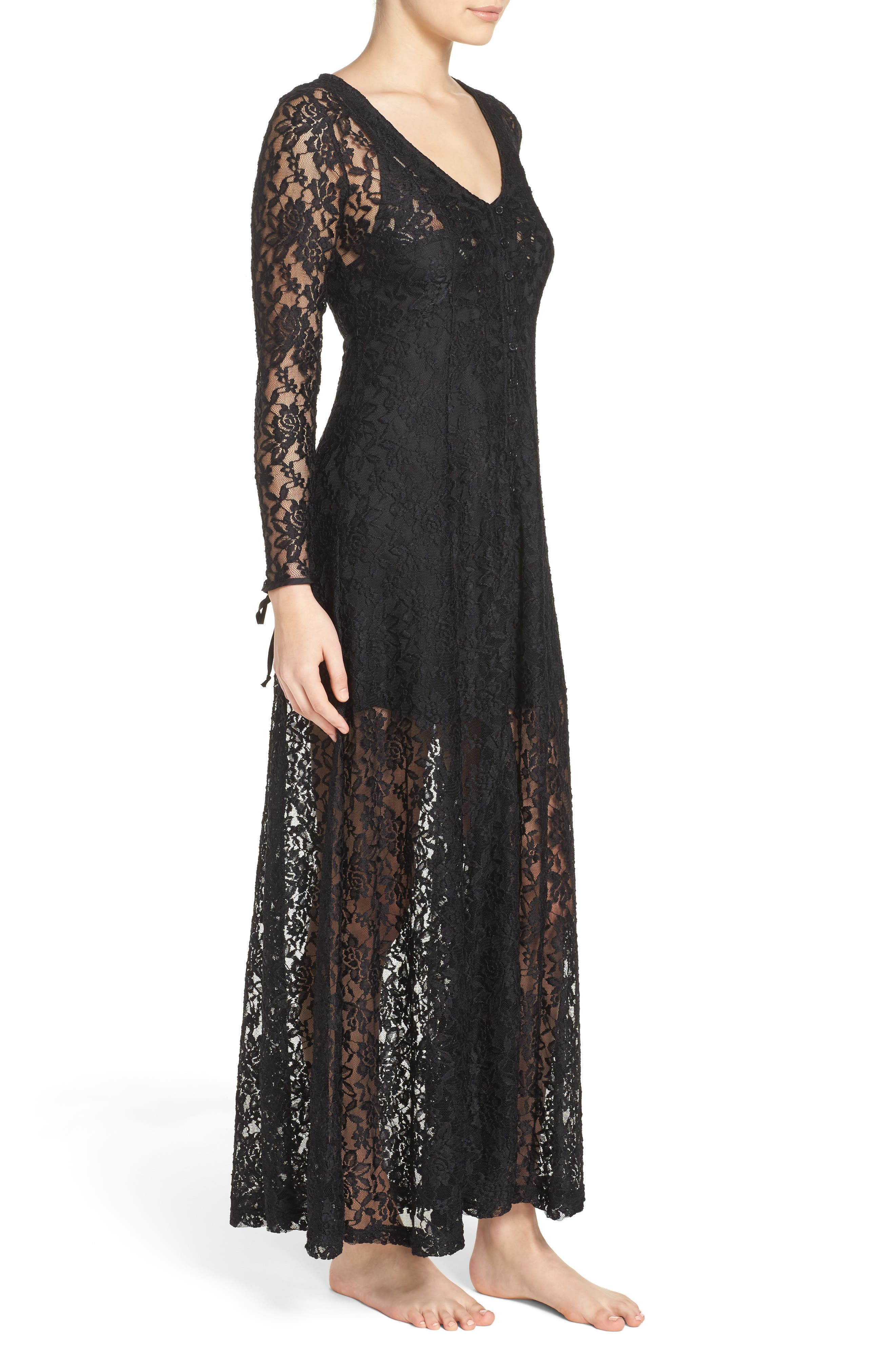 Lace Duster Robe,                             Alternate thumbnail 3, color,                             003
