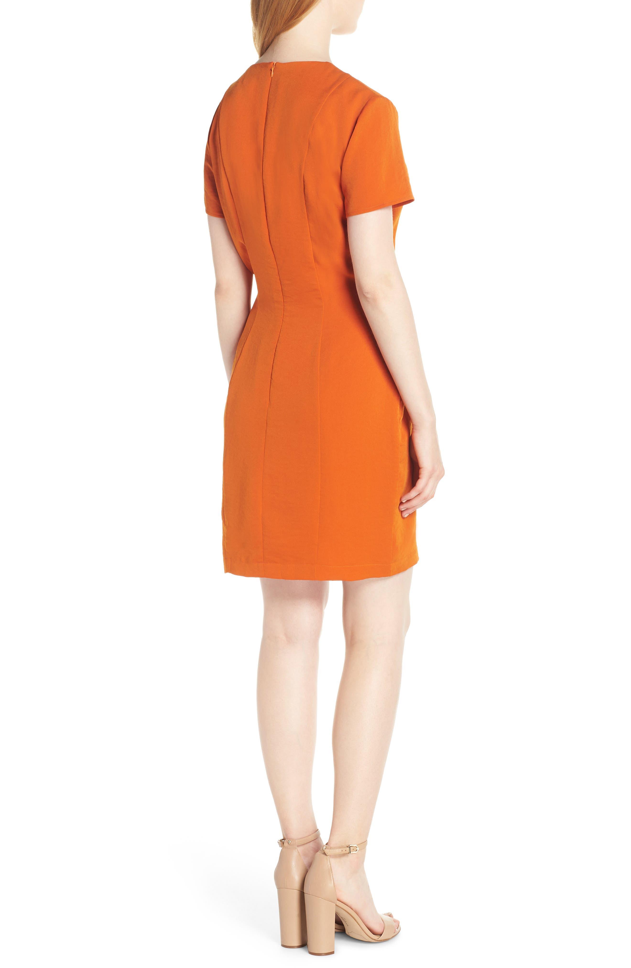 Sofia Short Sleeve Sheath Dress,                             Alternate thumbnail 2, color,                             ORANGE