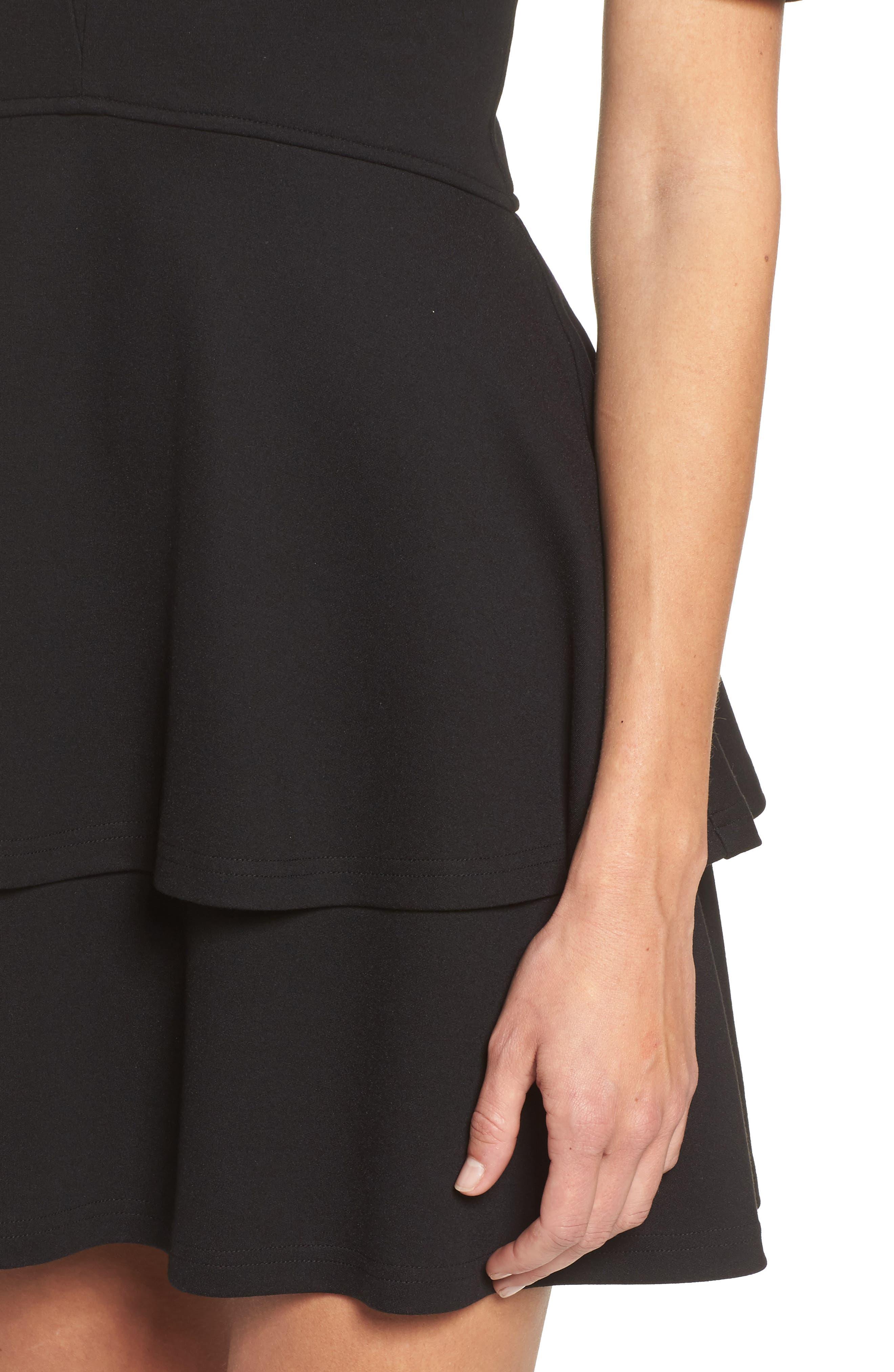 Isn't It Sweet Fit & Flare Dress,                             Alternate thumbnail 4, color,                             001