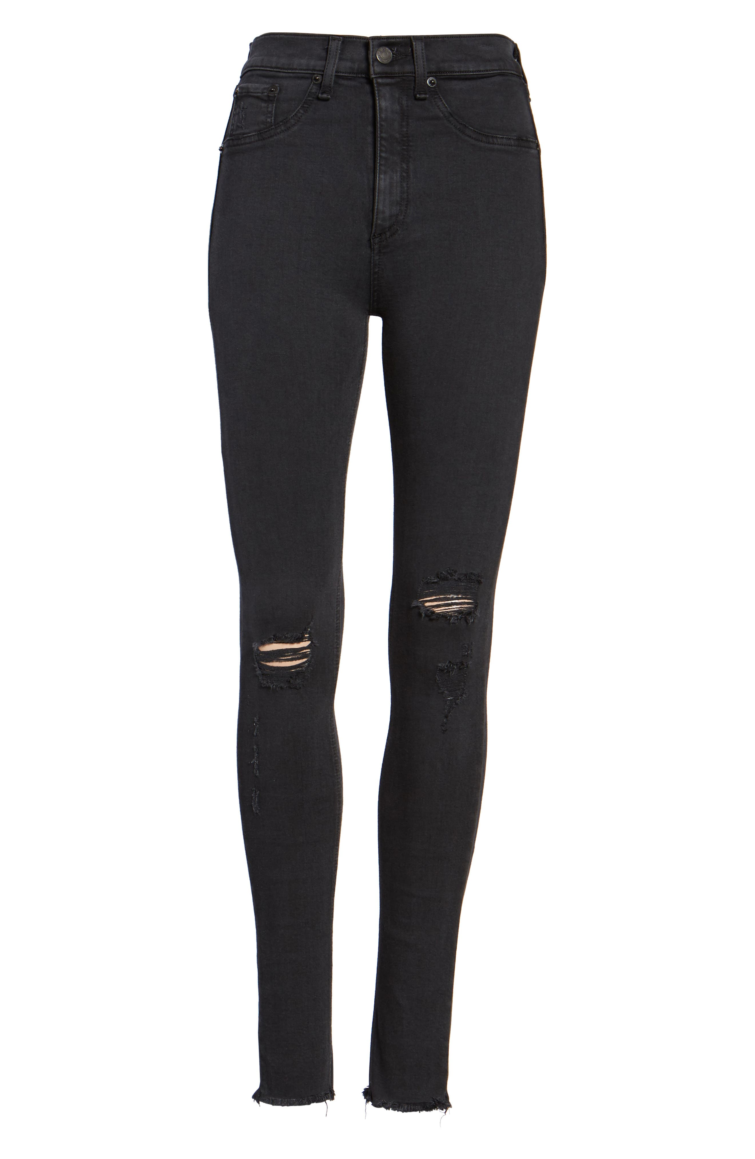 Ripped High Waist Skinny Jeans,                             Alternate thumbnail 7, color,                             001