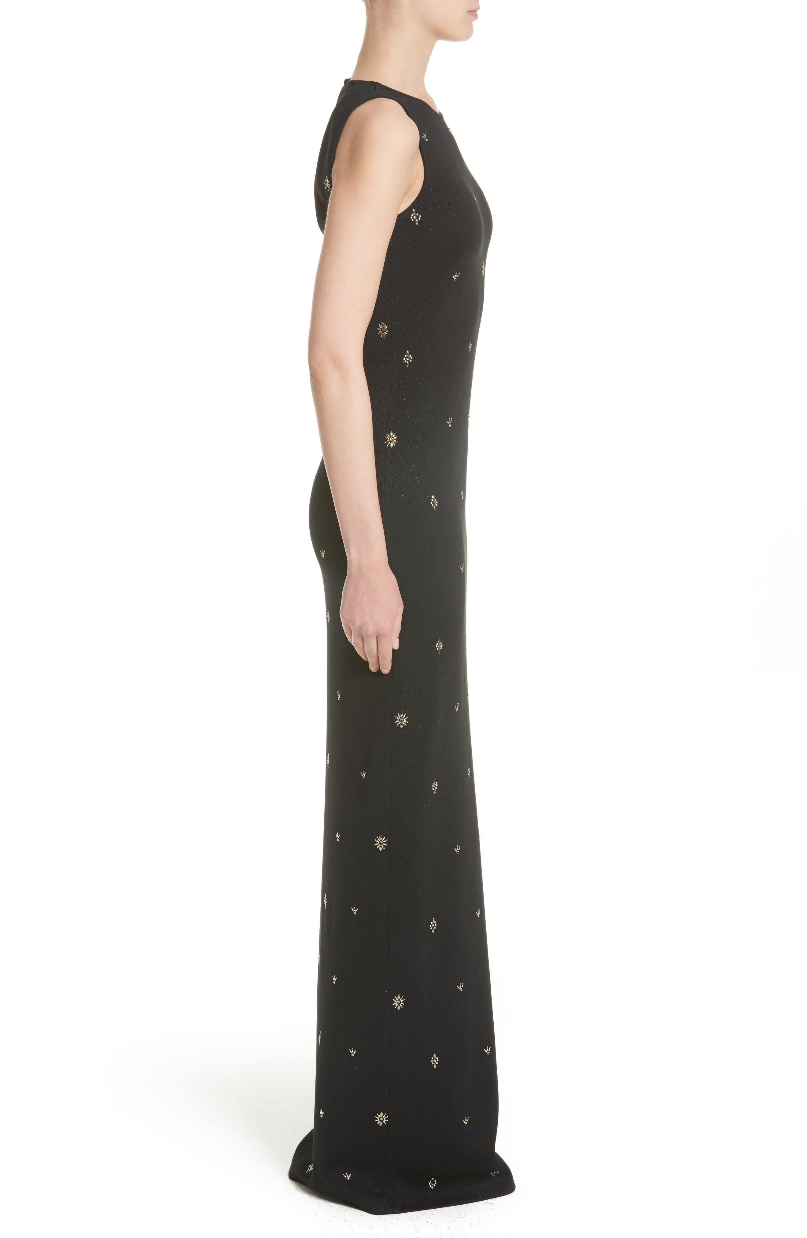 Back Keyhole Shimmer Milano Knit Gown,                             Alternate thumbnail 3, color,                             001