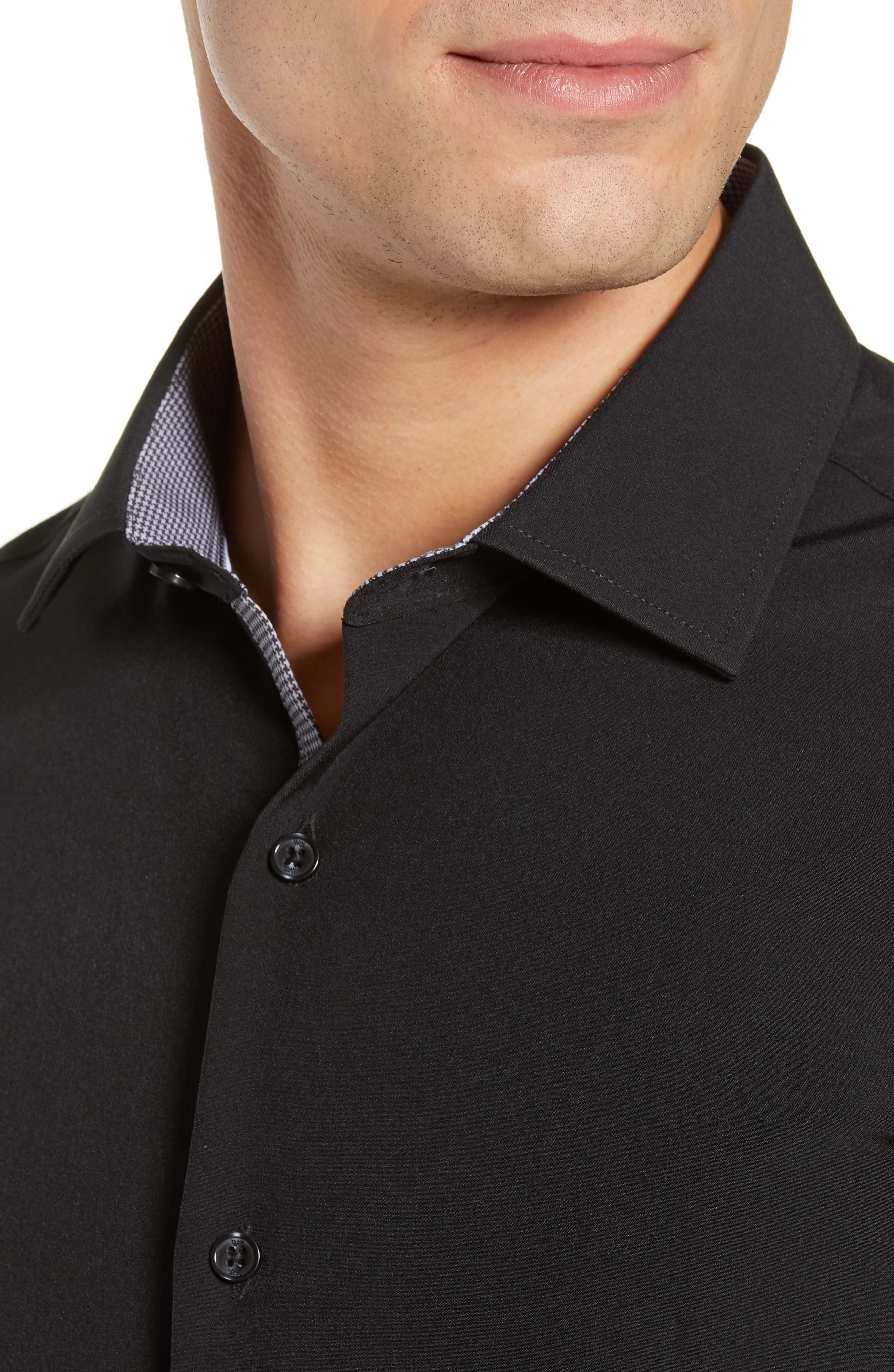 Trim Fit Stretch Solid Dress Shirt,                             Alternate thumbnail 2, color,                             BLACK