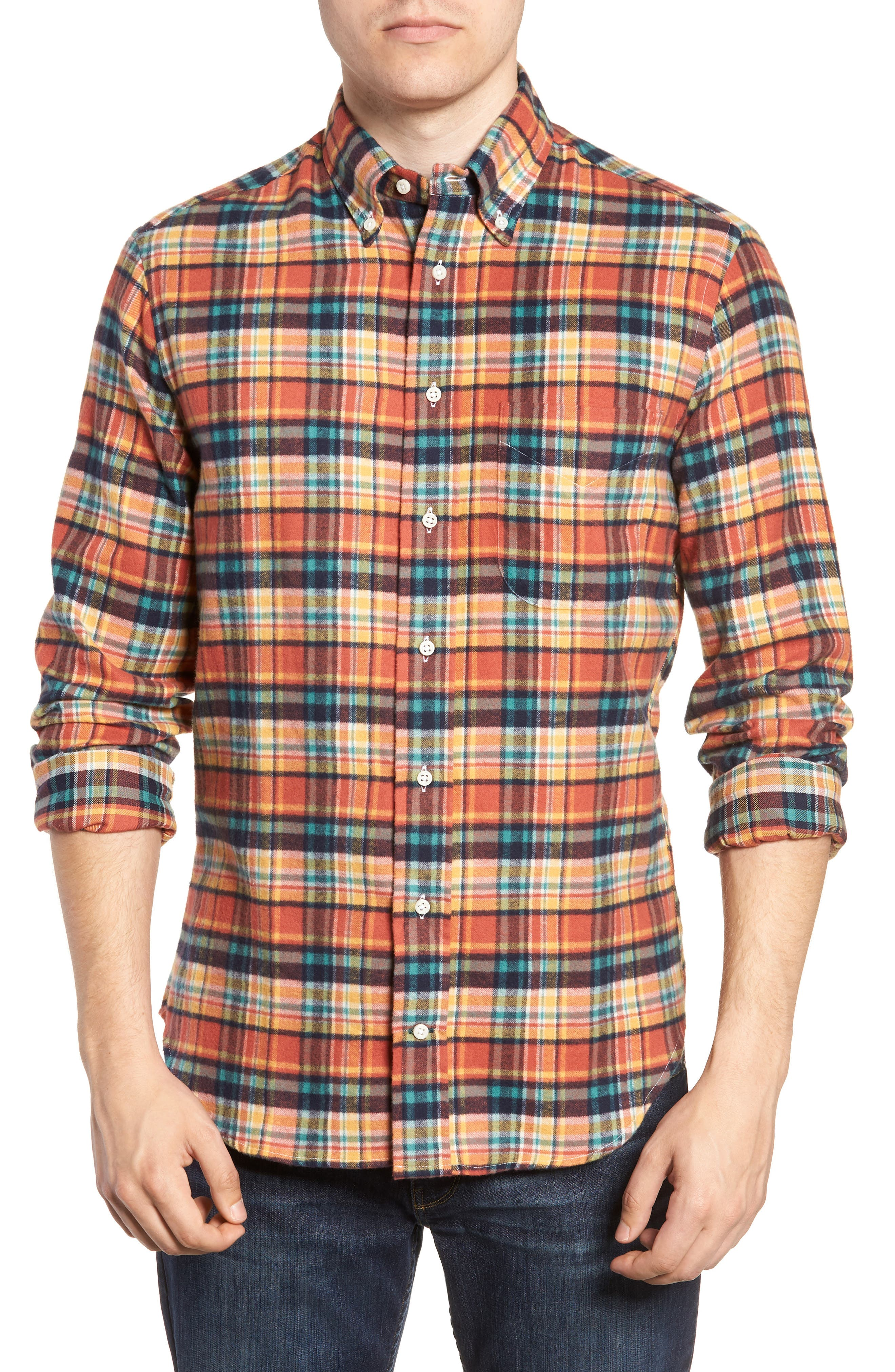 Regular Fit Flannel Shirt,                             Main thumbnail 1, color,                             MULTI