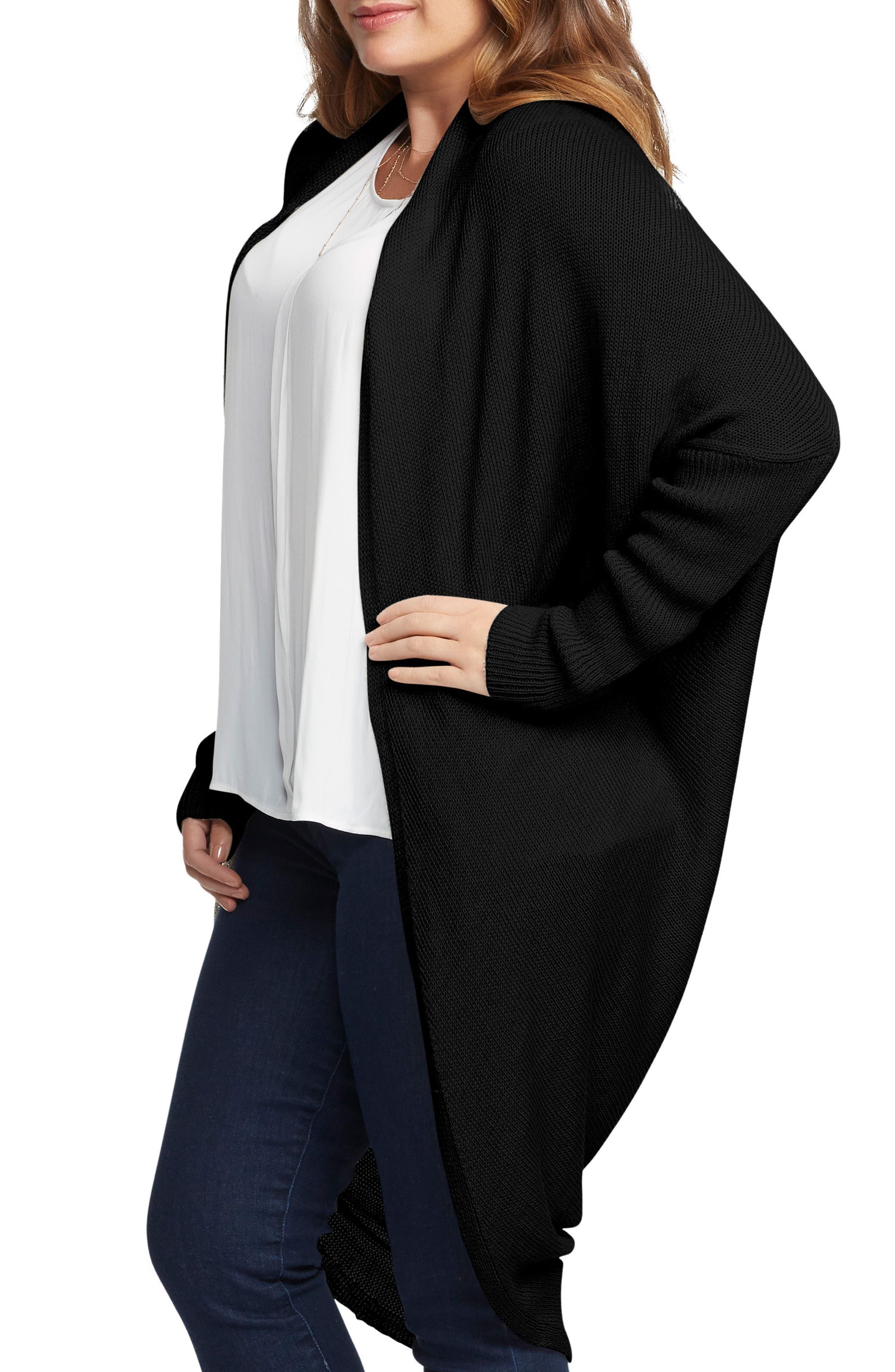 Darla Linen Blend Open Cardigan,                             Alternate thumbnail 3, color,                             001