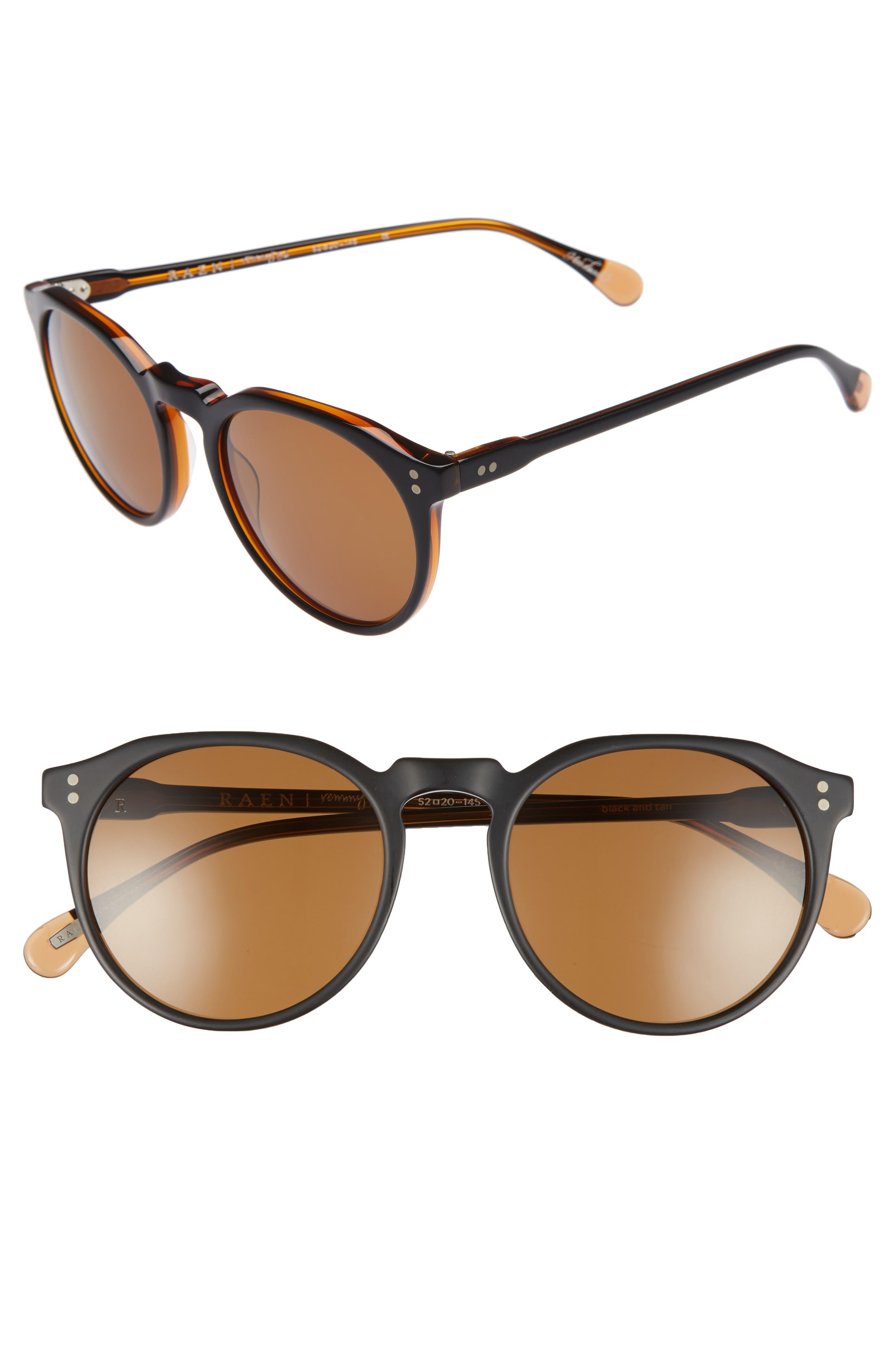 Remmy 52mm Sunglasses,                         Main,                         color, BLACK/ TAN/ BROWN