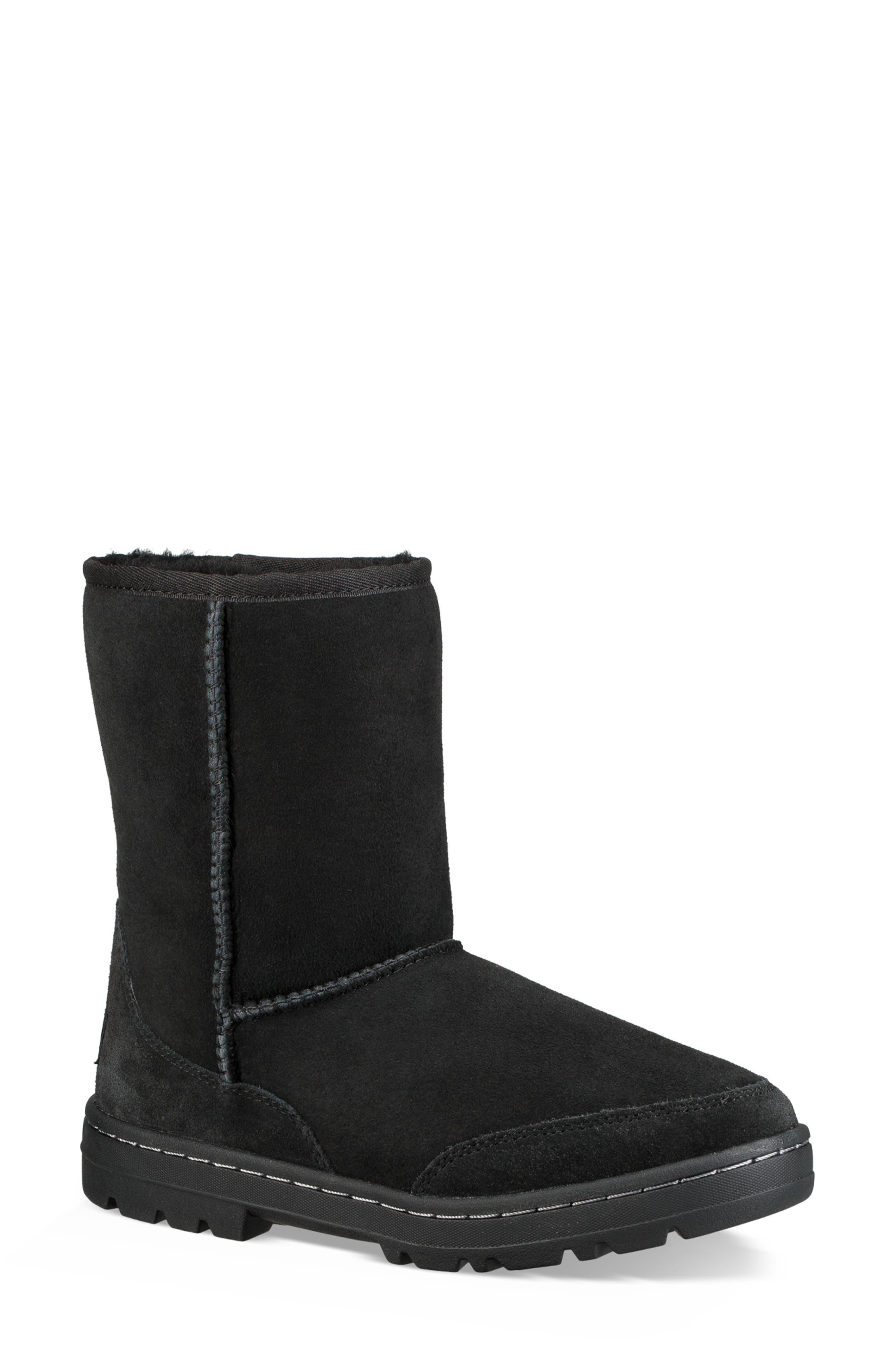 Ultra Revival Genuine Shearling Short Boot,                         Main,                         color, BLACK