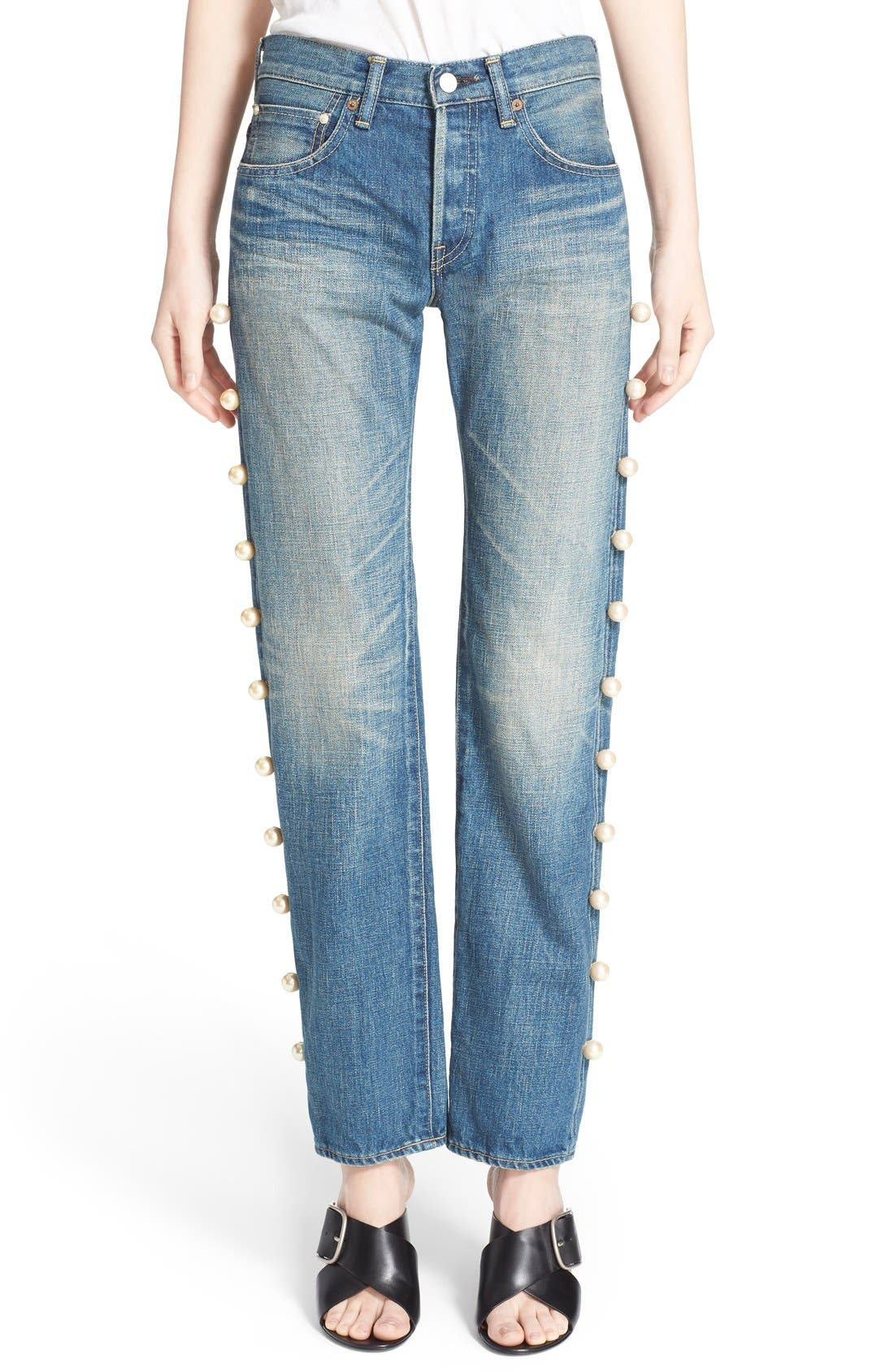 Imitation Pearl Embellished Jeans,                         Main,                         color, 101