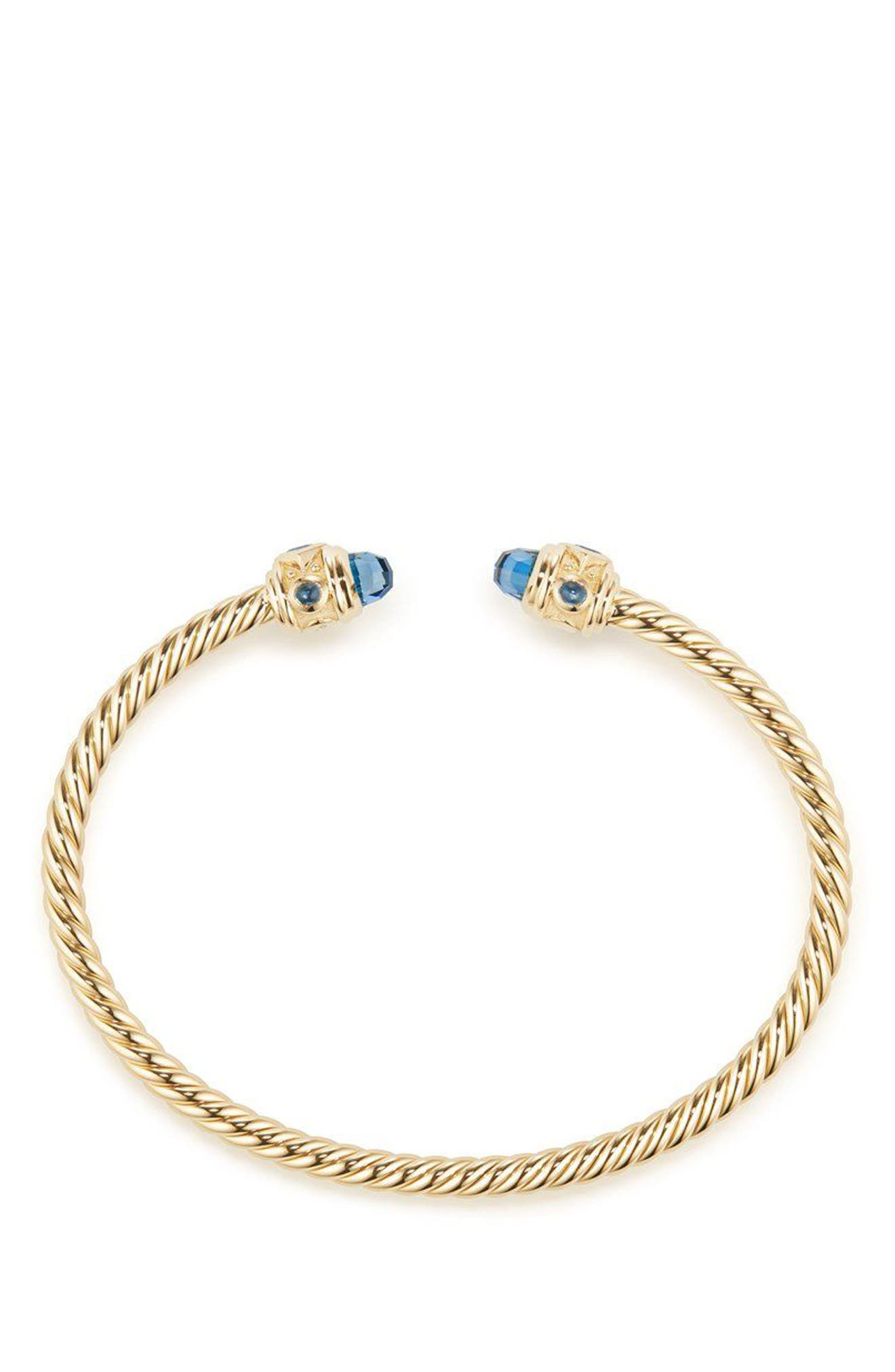 Renaissance Bracelet in 18K Gold, 3.5mm,                             Alternate thumbnail 2, color,                             GOLD/ HAMPTON BLUE TOPAZ