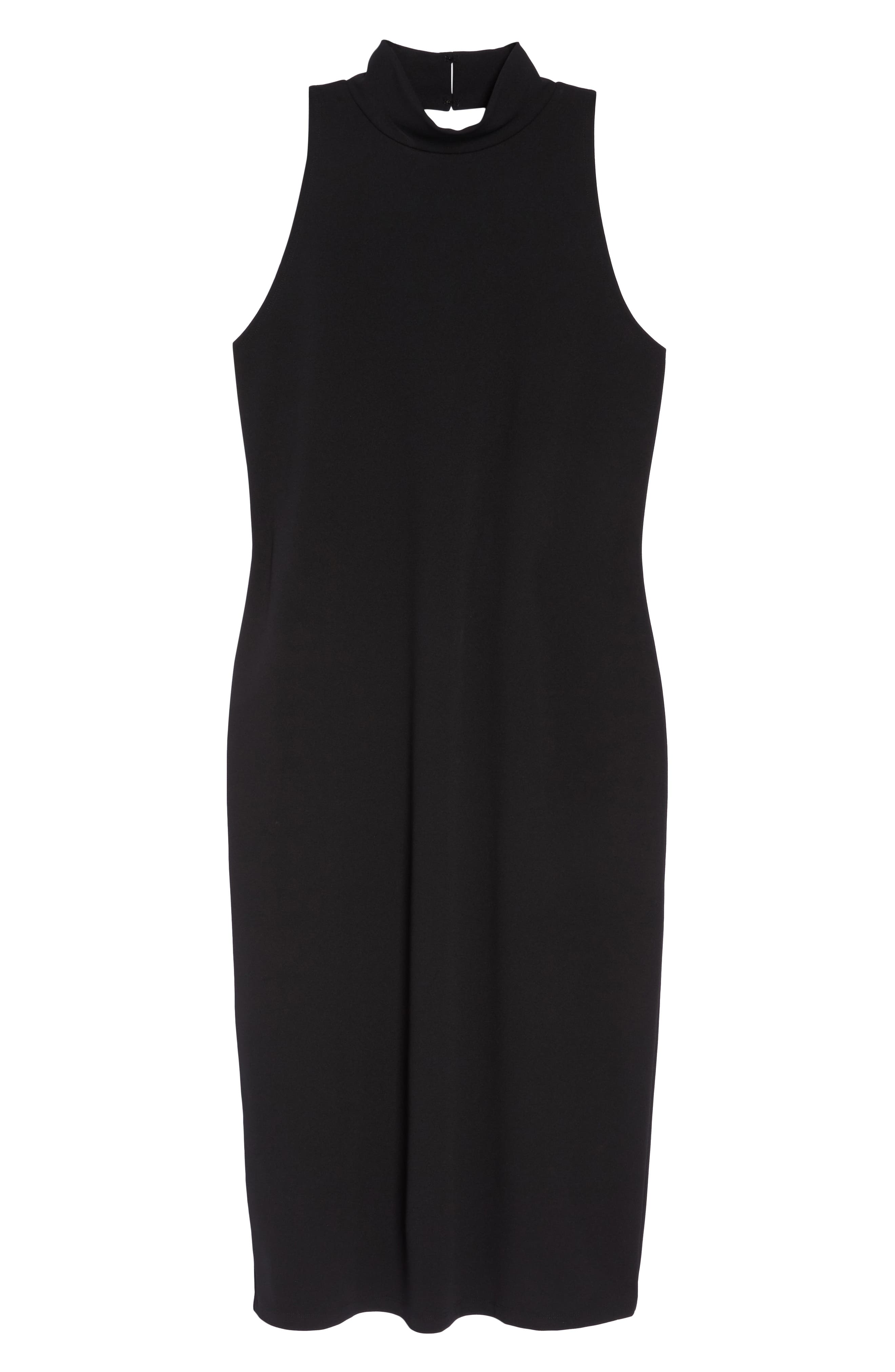Mock Neck Body-Con Dress,                             Alternate thumbnail 12, color,                             BLACK