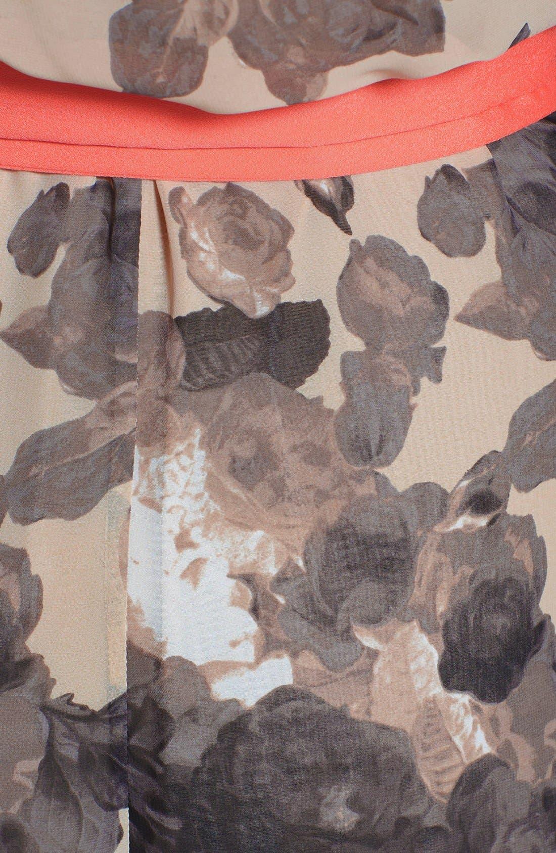 Floral Print Chiffon Maxi Dress,                             Alternate thumbnail 11, color,                             TAUPE/ BLACK