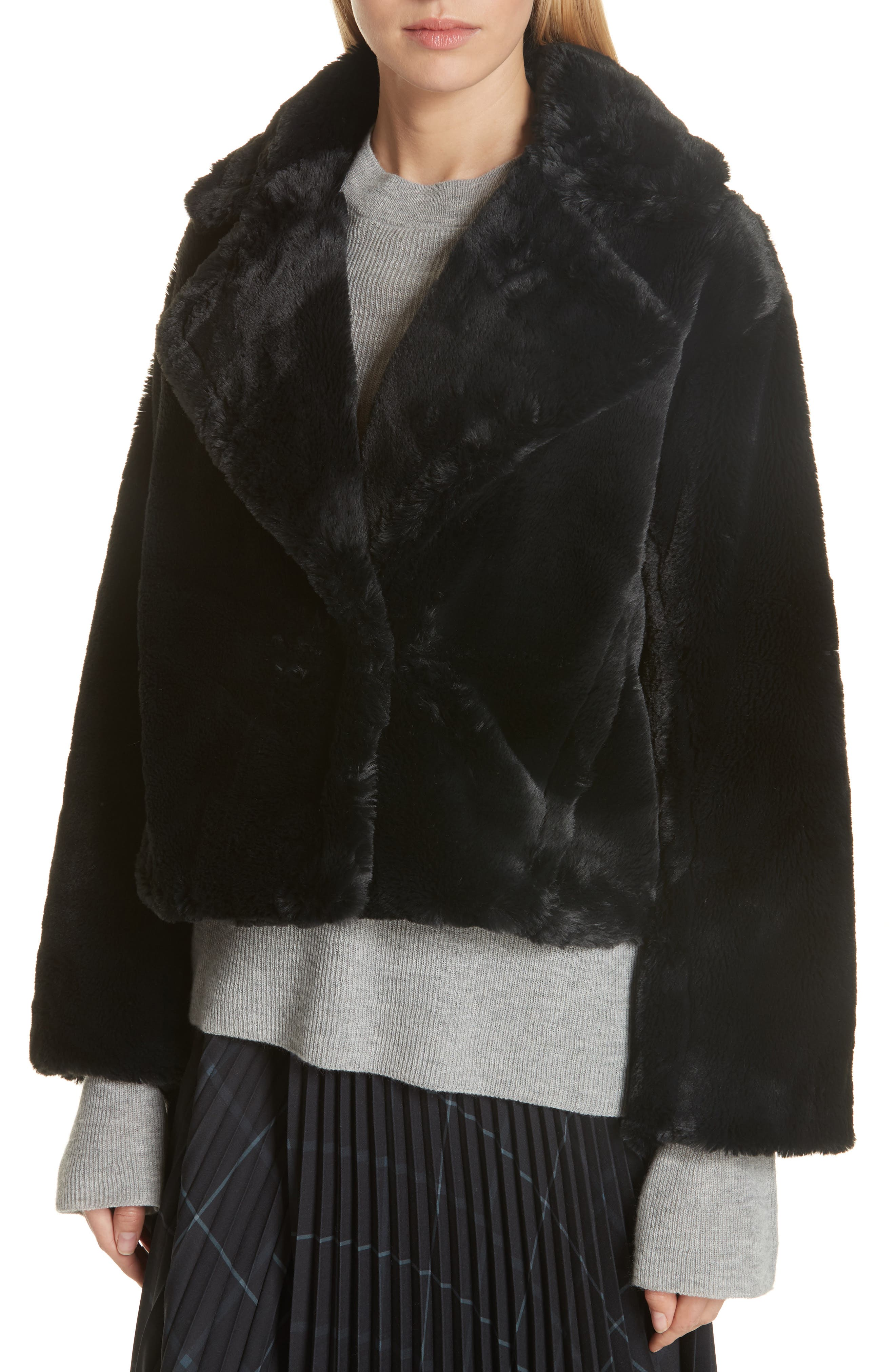 Plush Faux Fur Coat,                             Alternate thumbnail 4, color,                             IRON