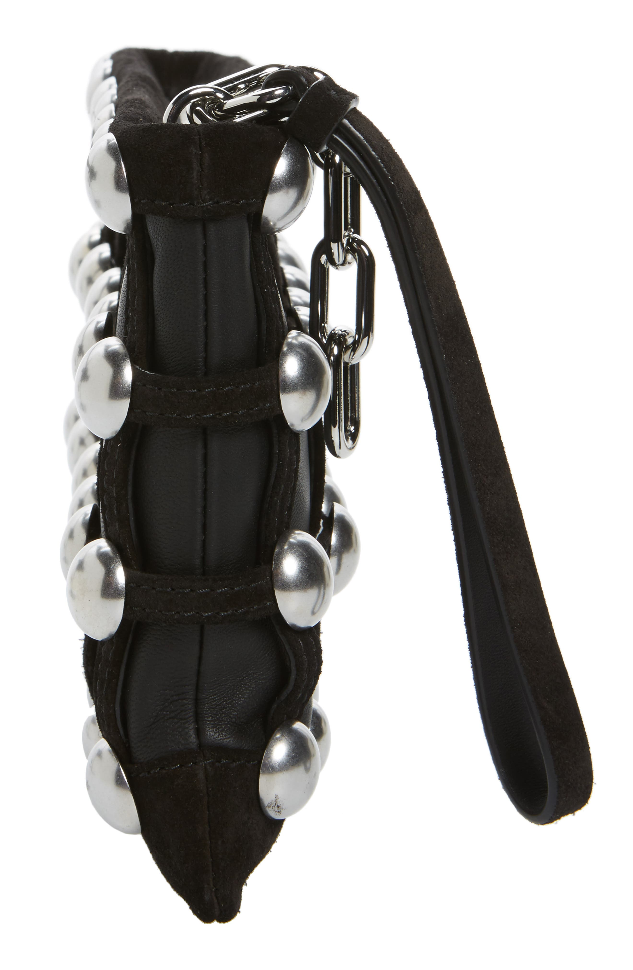 Roxy Studded Cage Leather Wristlet,                             Alternate thumbnail 5, color,