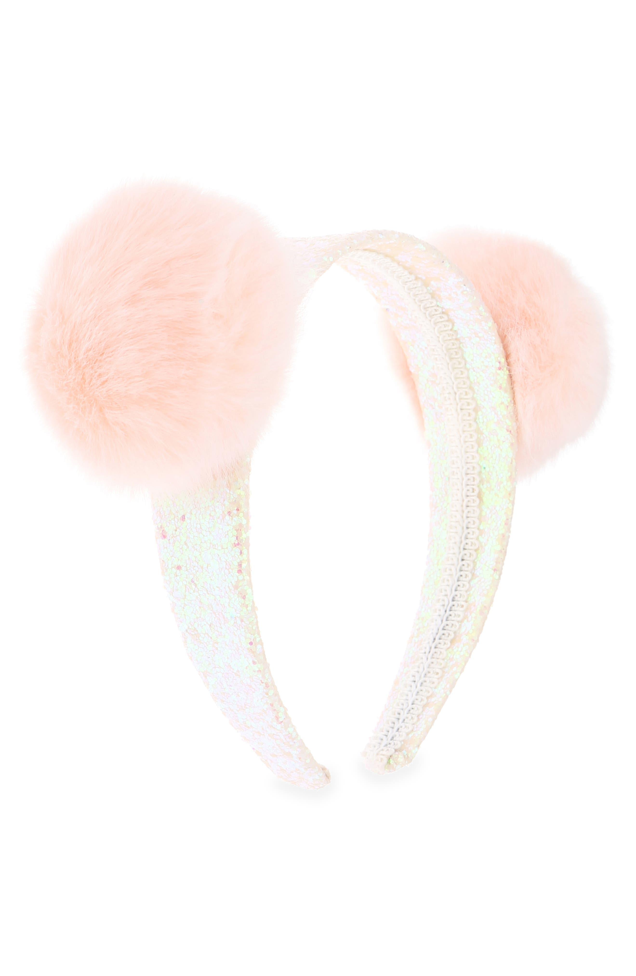 Pom Glitter Headband,                             Alternate thumbnail 2, color,                             PEACH
