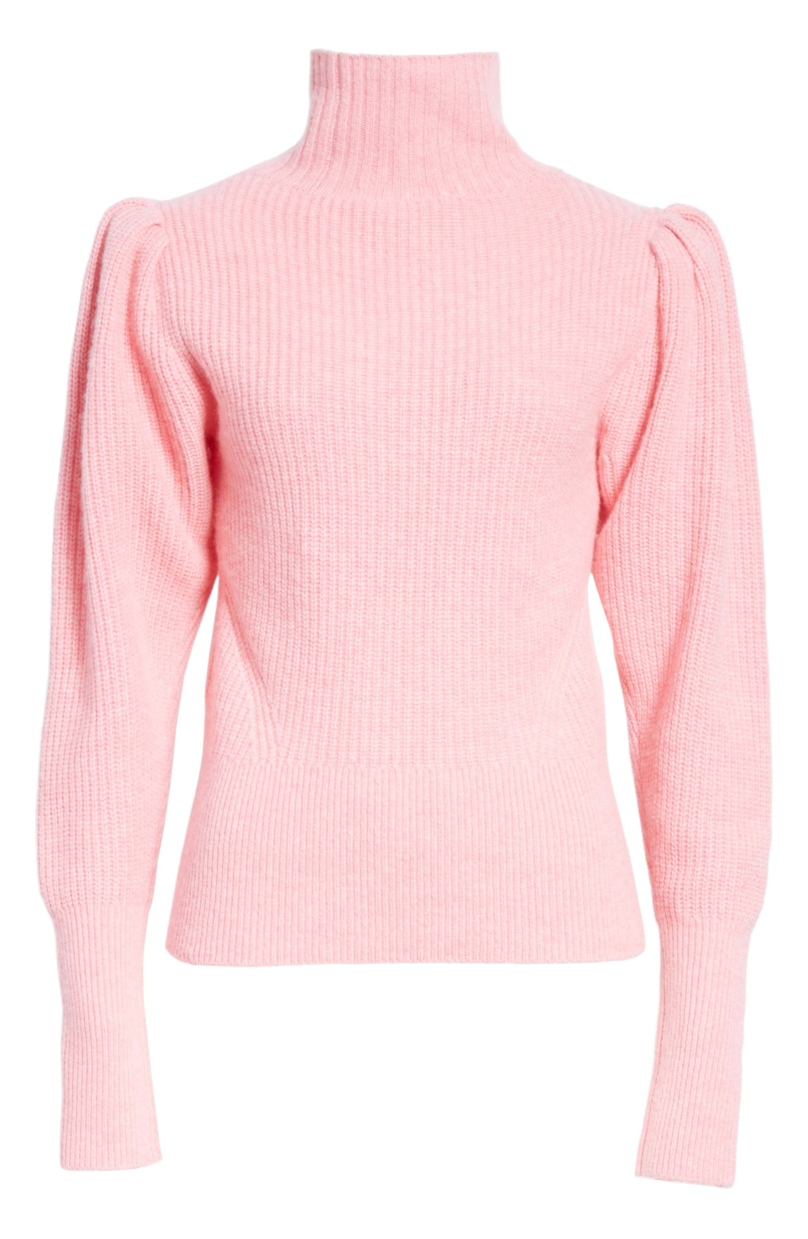 Wool & Cashmere Puff Sleeve Turtleneck Sweater,                             Alternate thumbnail 12, color,
