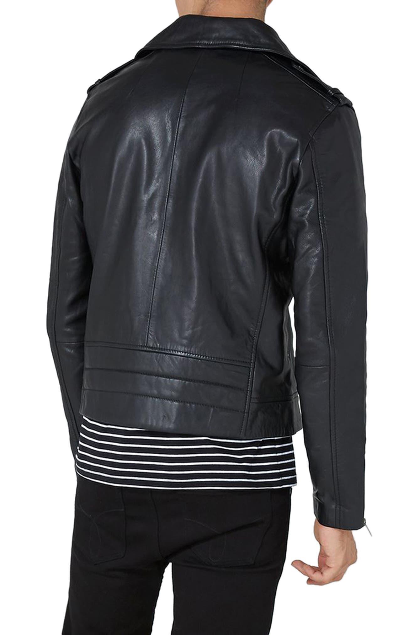 Leather Biker Jacket,                             Alternate thumbnail 2, color,                             001