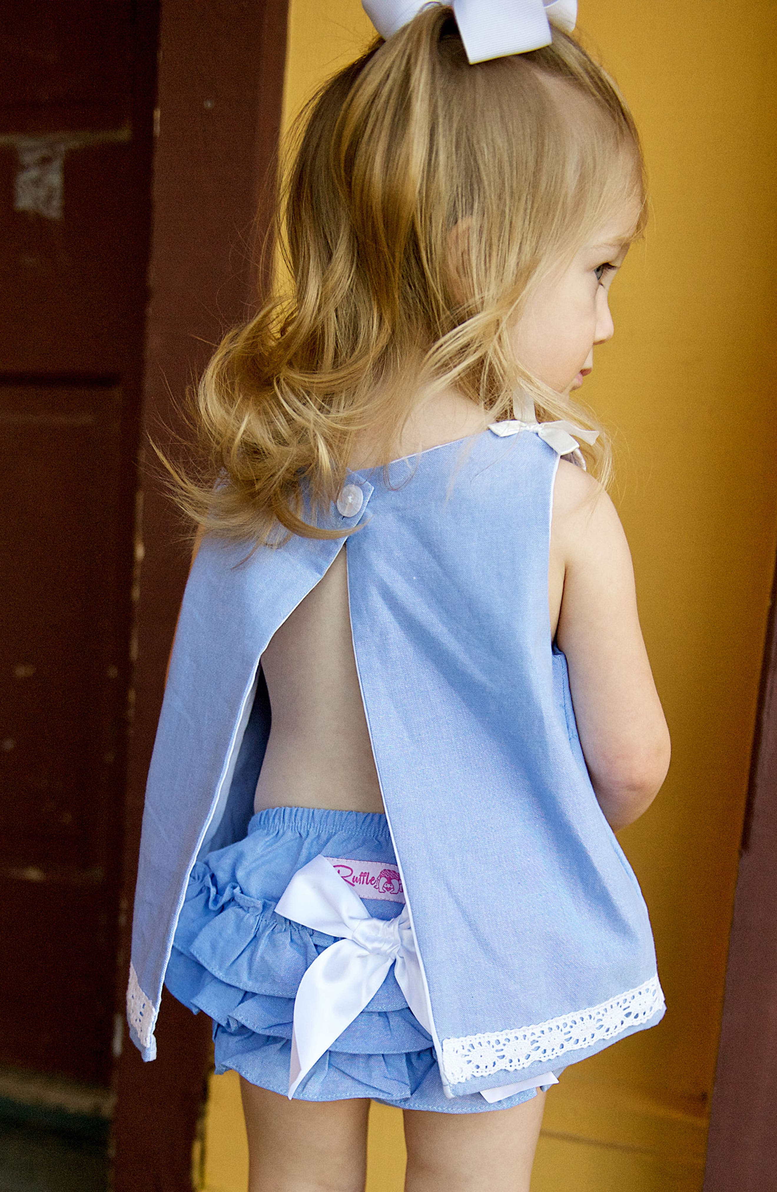 Chambray Swing Top & Ruffle Bloomers Set,                             Alternate thumbnail 3, color,                             400