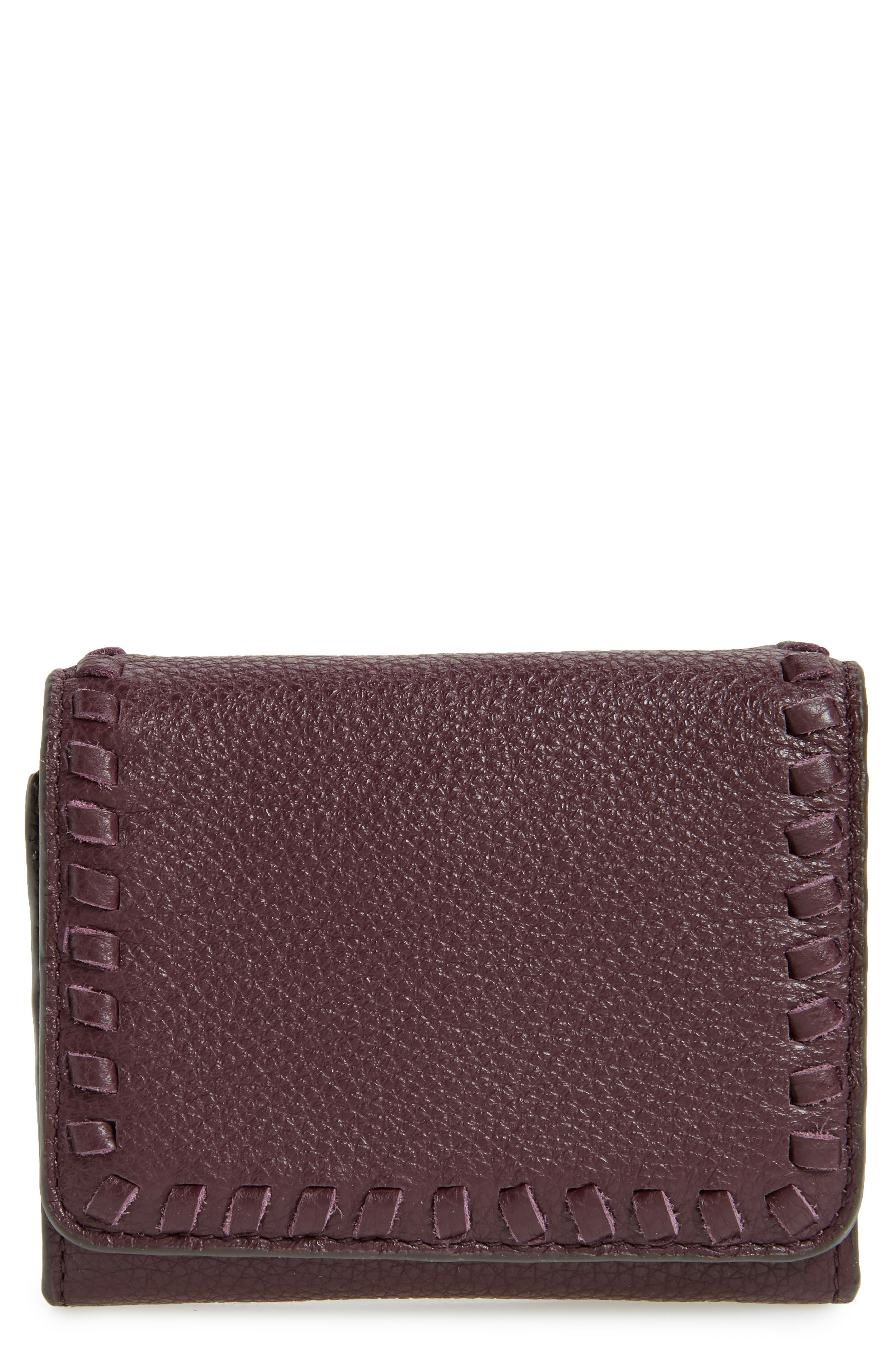 Mini Vanity Leather Wallet,                         Main,                         color, 610