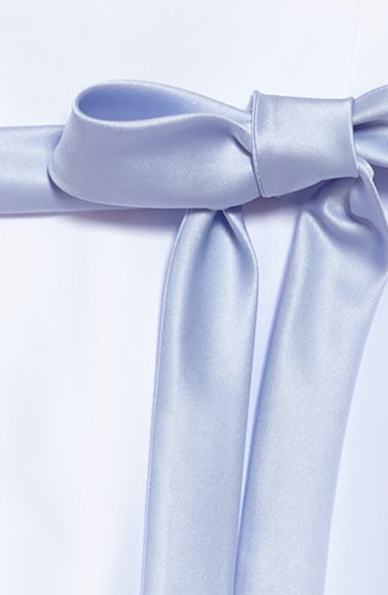 Sleeveless Satin Dress,                             Alternate thumbnail 3, color,                             WHITE/ BLUE