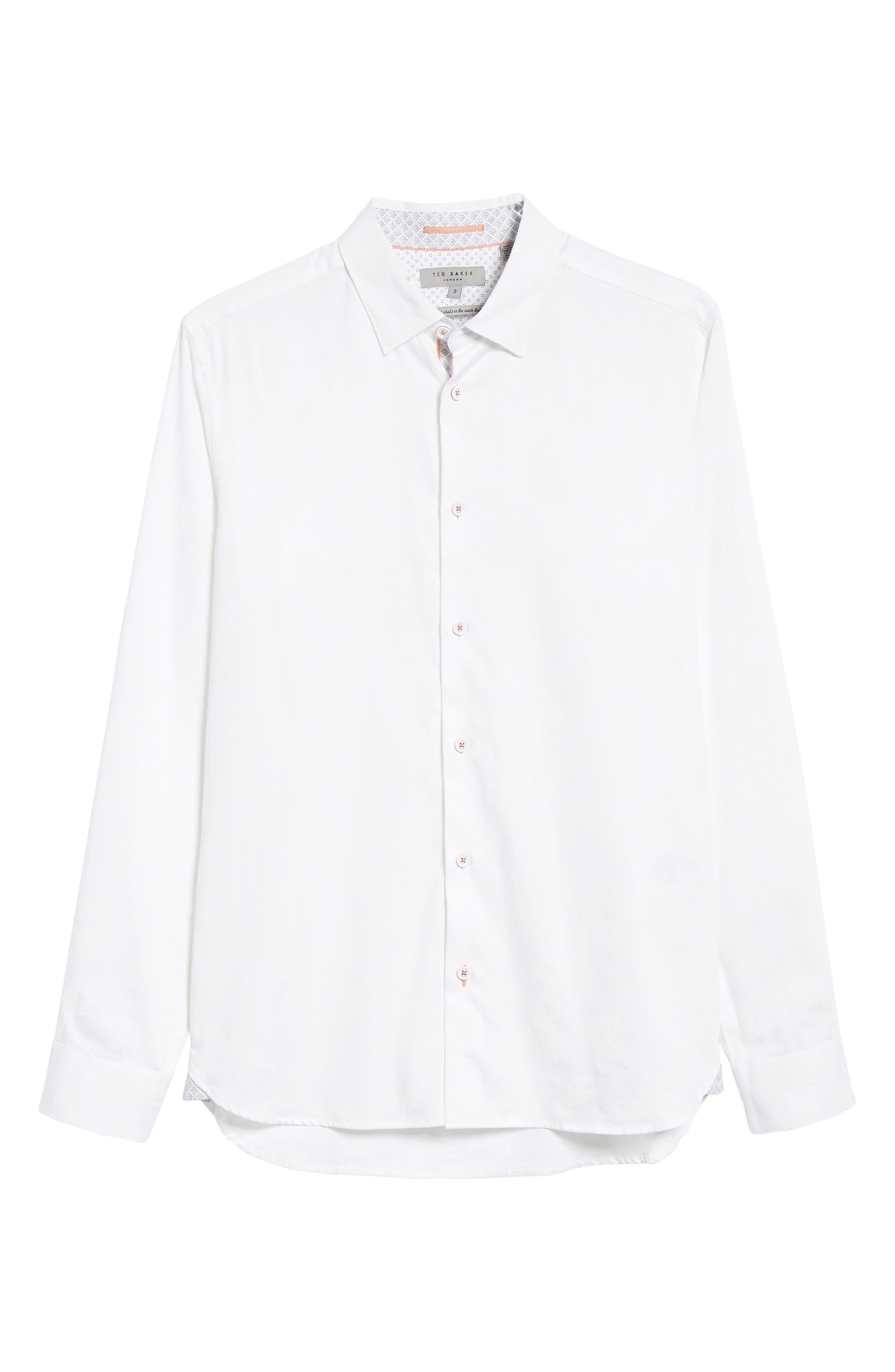 Holborn Trim Fit Print Sport Shirt,                             Alternate thumbnail 5, color,                             WHITE