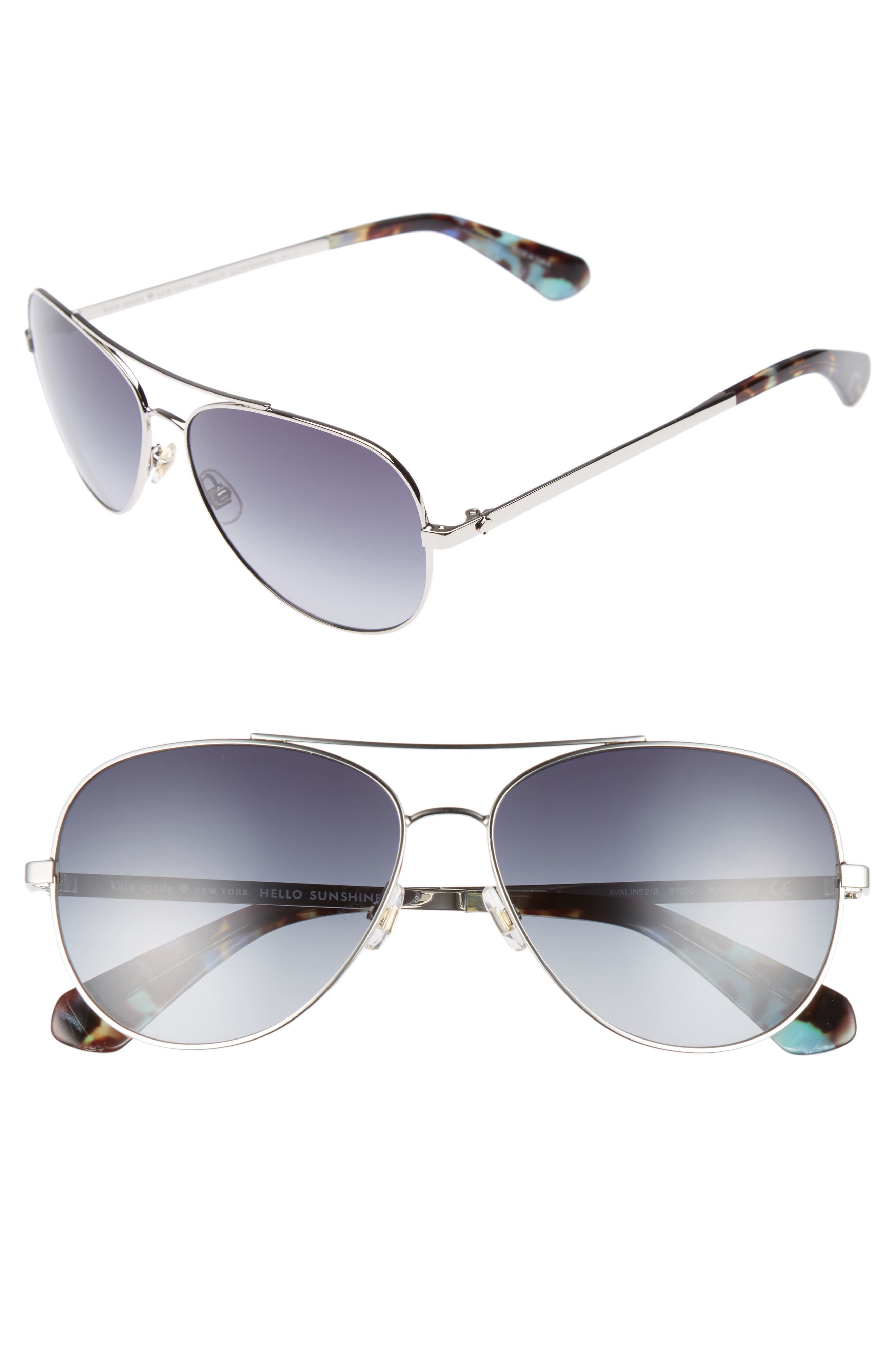 avaline 58mm aviator sunglasses,                         Main,                         color, PALLADIUM