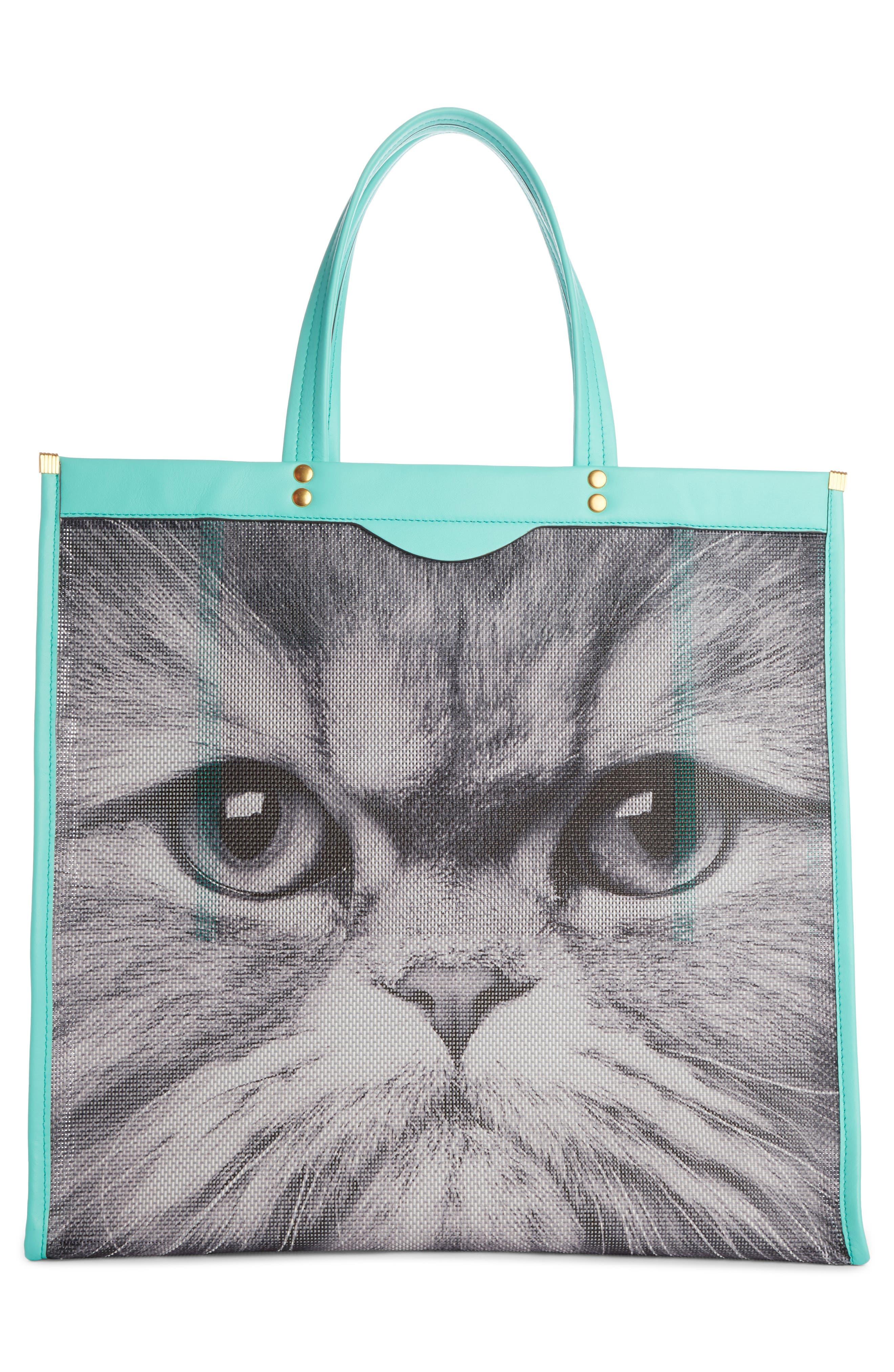 Kitsch Cat Mesh Tote,                             Alternate thumbnail 2, color,                             100
