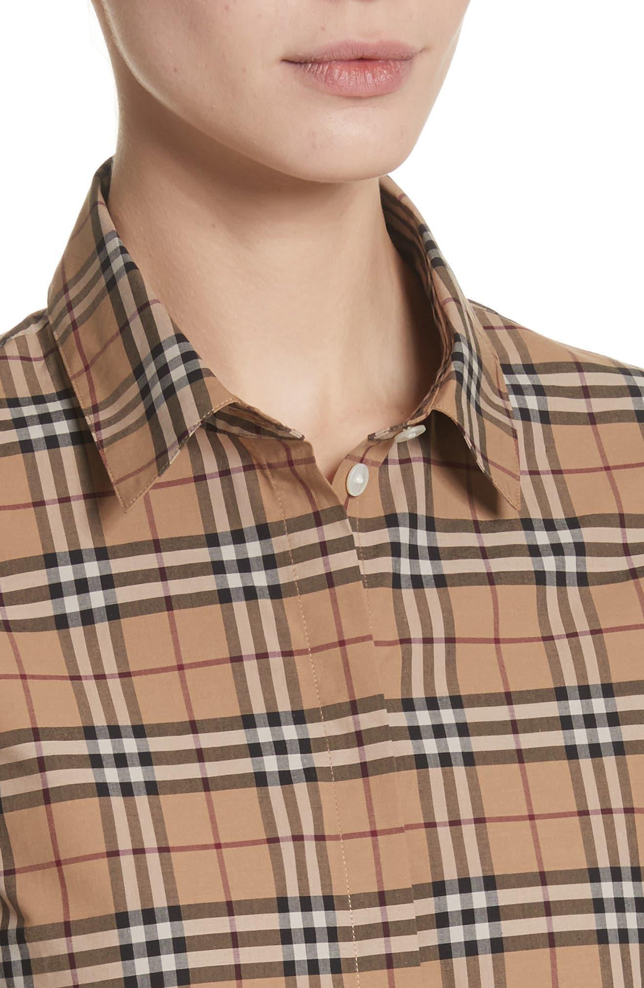 Vintage Check Cotton Shirt,                             Alternate thumbnail 4, color,                             231