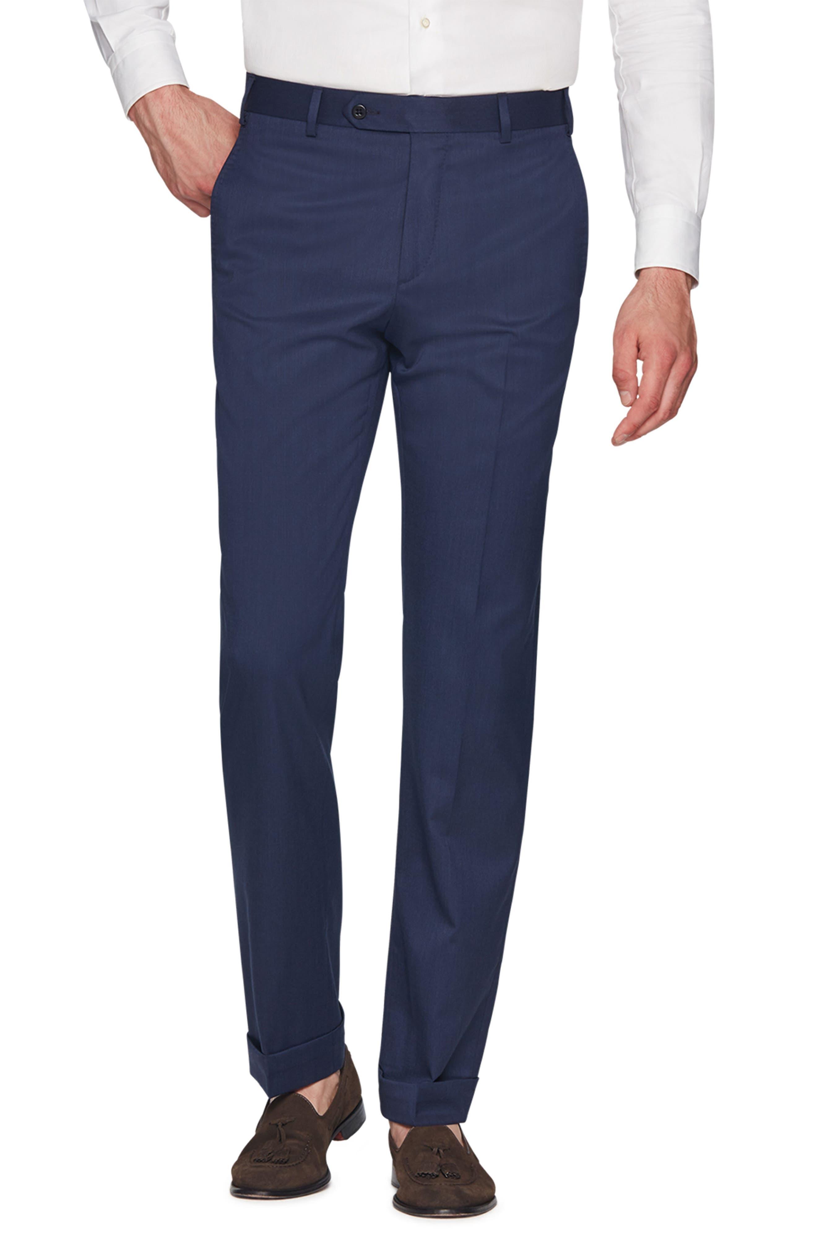 ZANELLA Devon Flat Front Stretch Solid Wool Trousers in Blue