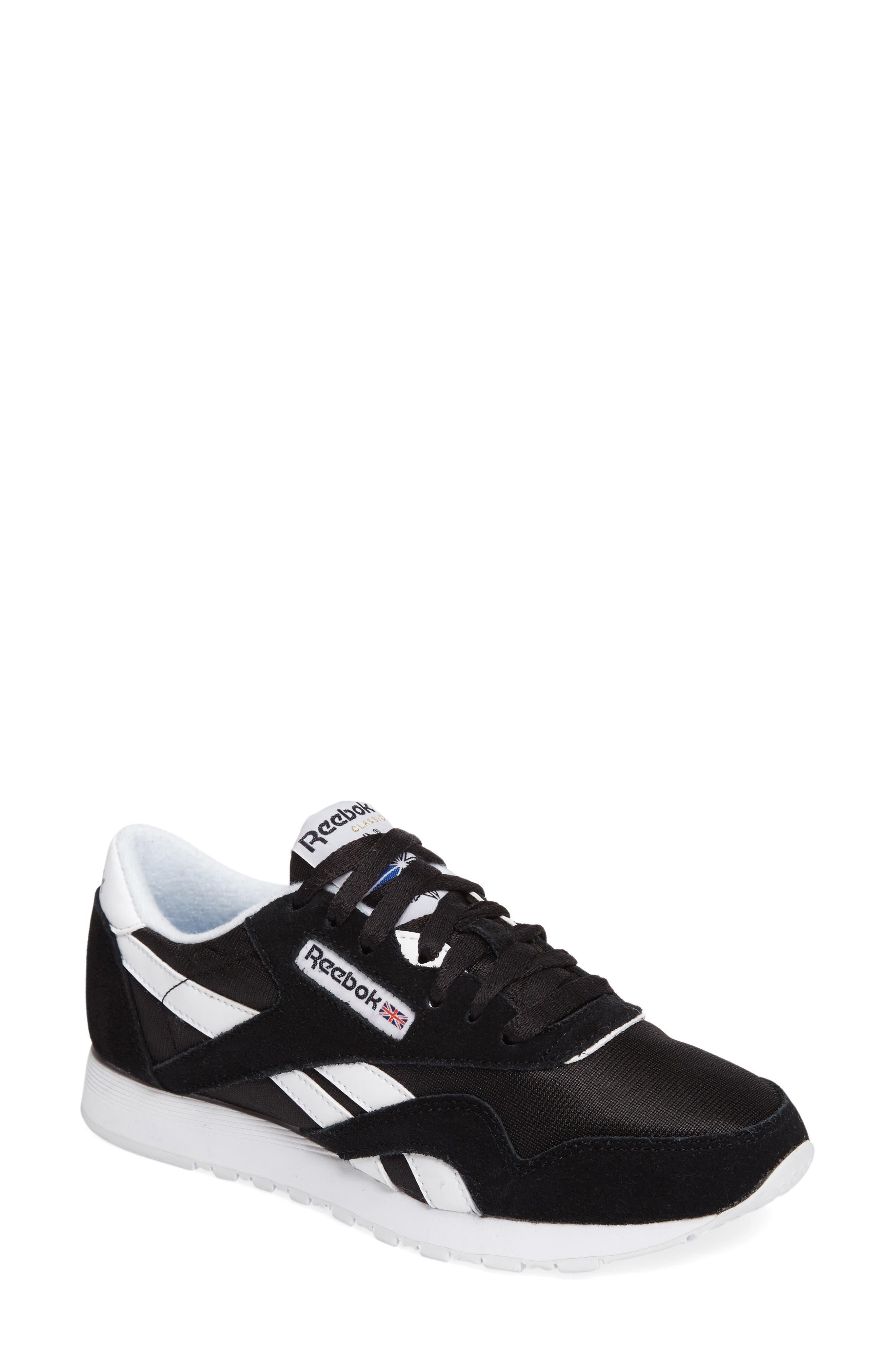 Classic Nylon Sneaker,                         Main,                         color, BLACK/ WHITE
