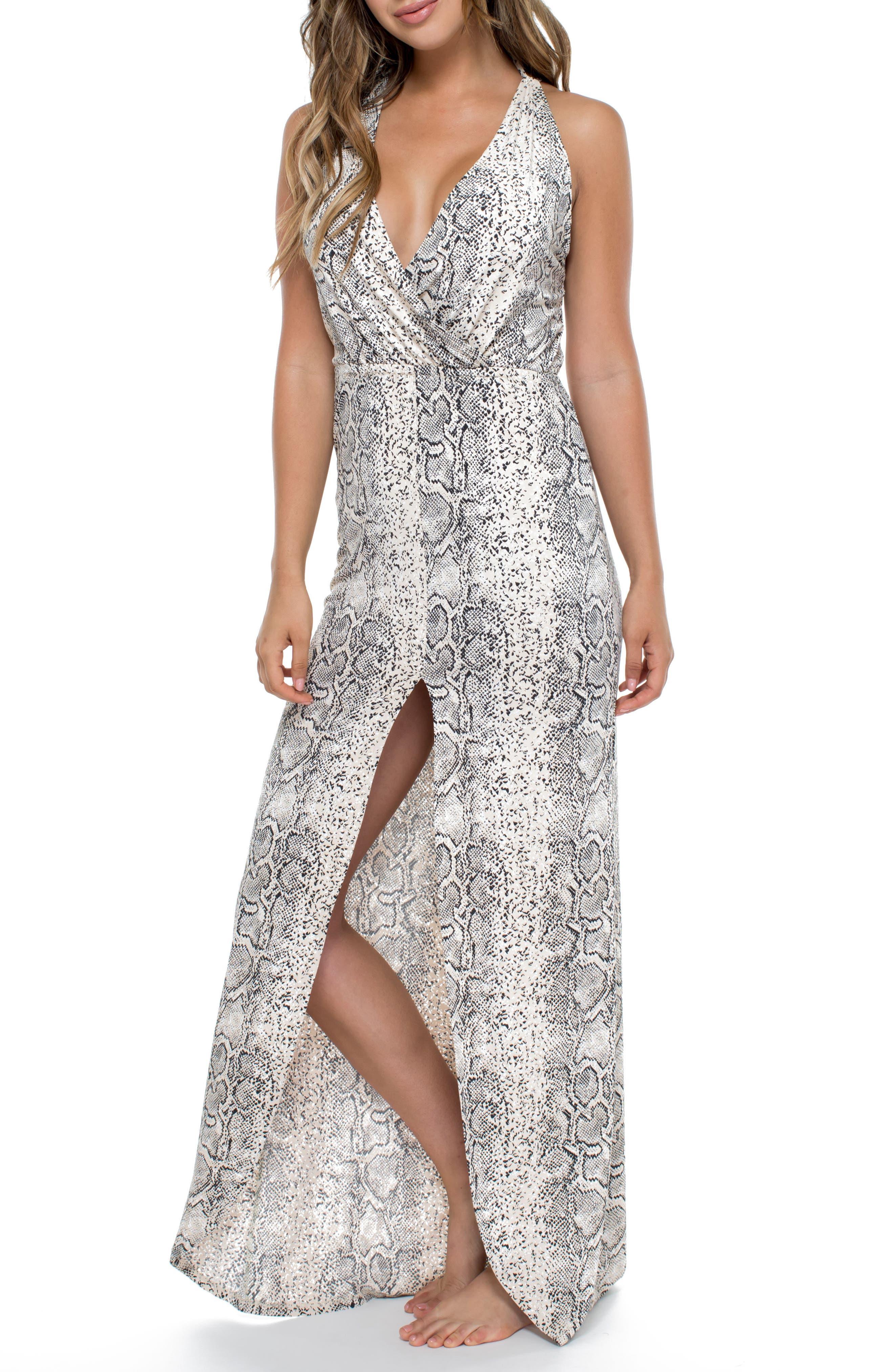 Snake Print Cover-Up Maxi Dress,                             Alternate thumbnail 3, color,                             250