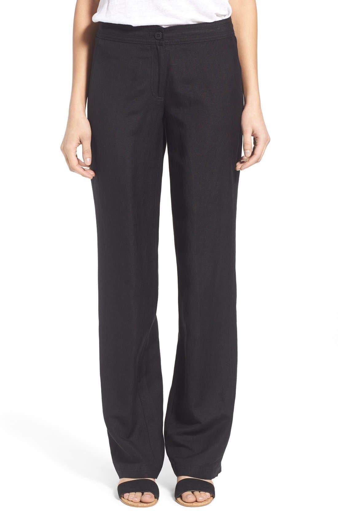 'Easy' Linen Blend Wide Leg Pants,                         Main,                         color, 004