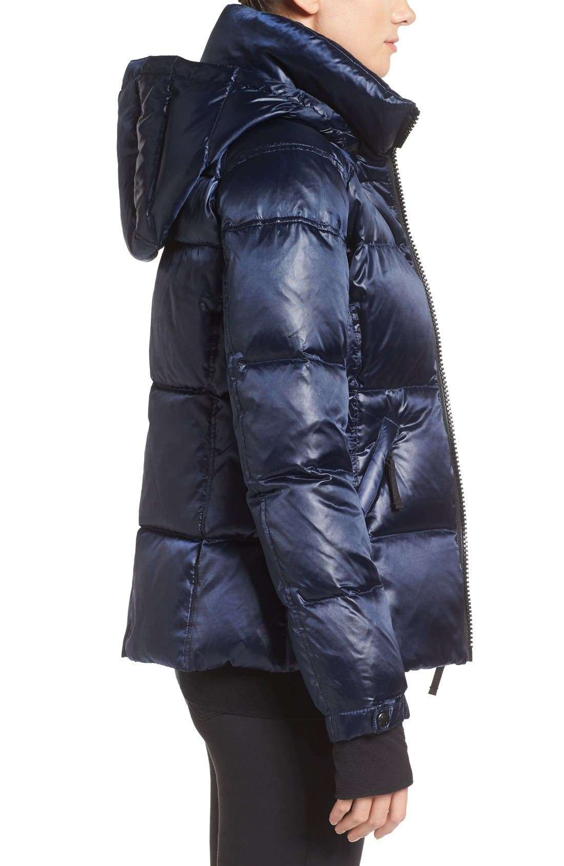 Kylie Metallic Quilted Jacket with Removable Hood,                             Alternate thumbnail 4, color,                             MIDNIGHT