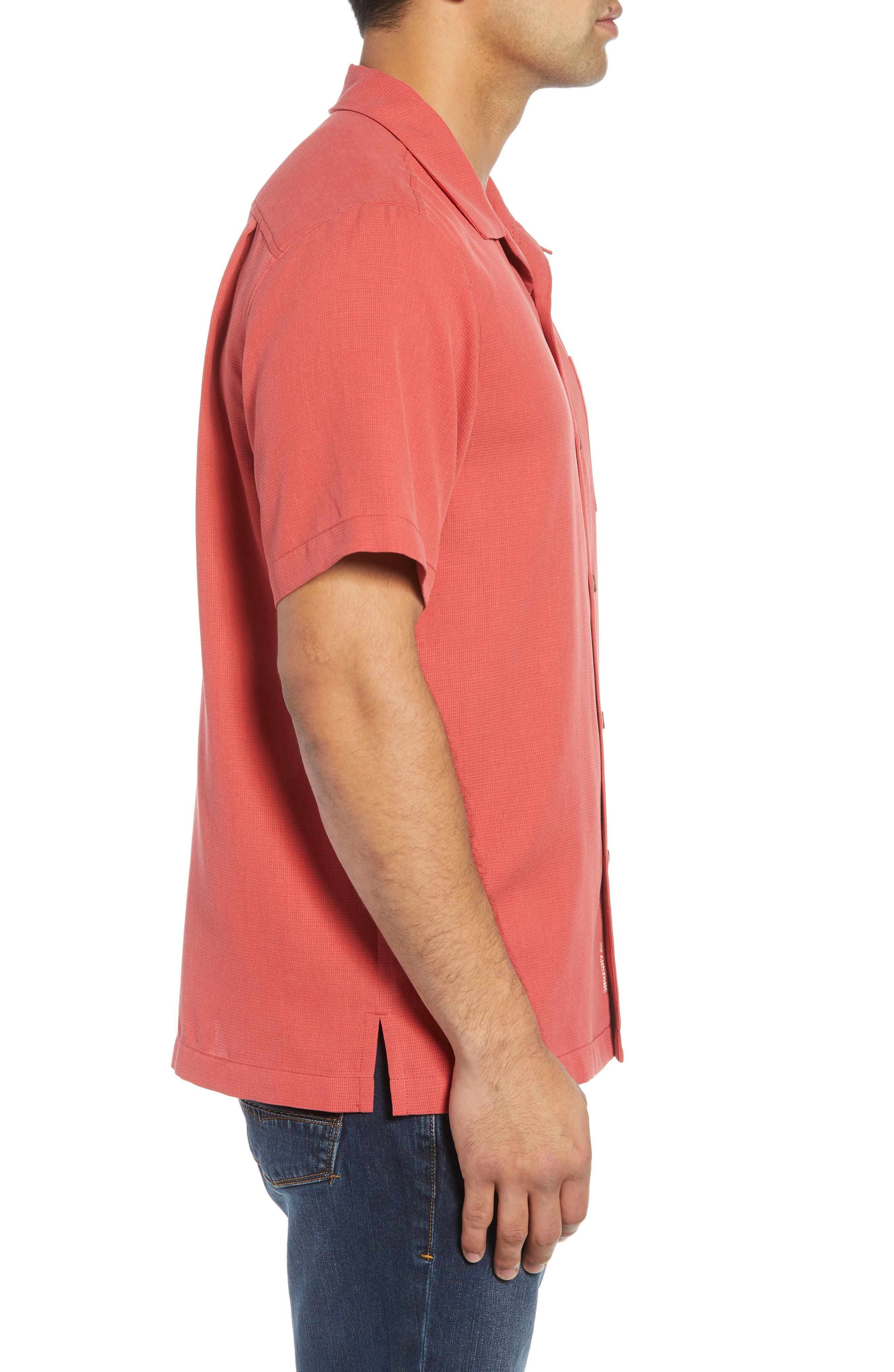 Royal Bermuda Silk Blend Camp Shirt,                             Alternate thumbnail 4, color,                             WILD GERANIUM