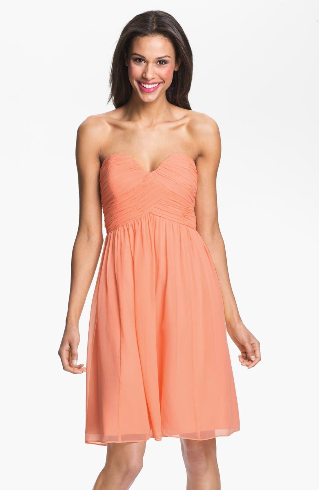 'Morgan' Strapless Silk Chiffon Dress,                             Main thumbnail 28, color,
